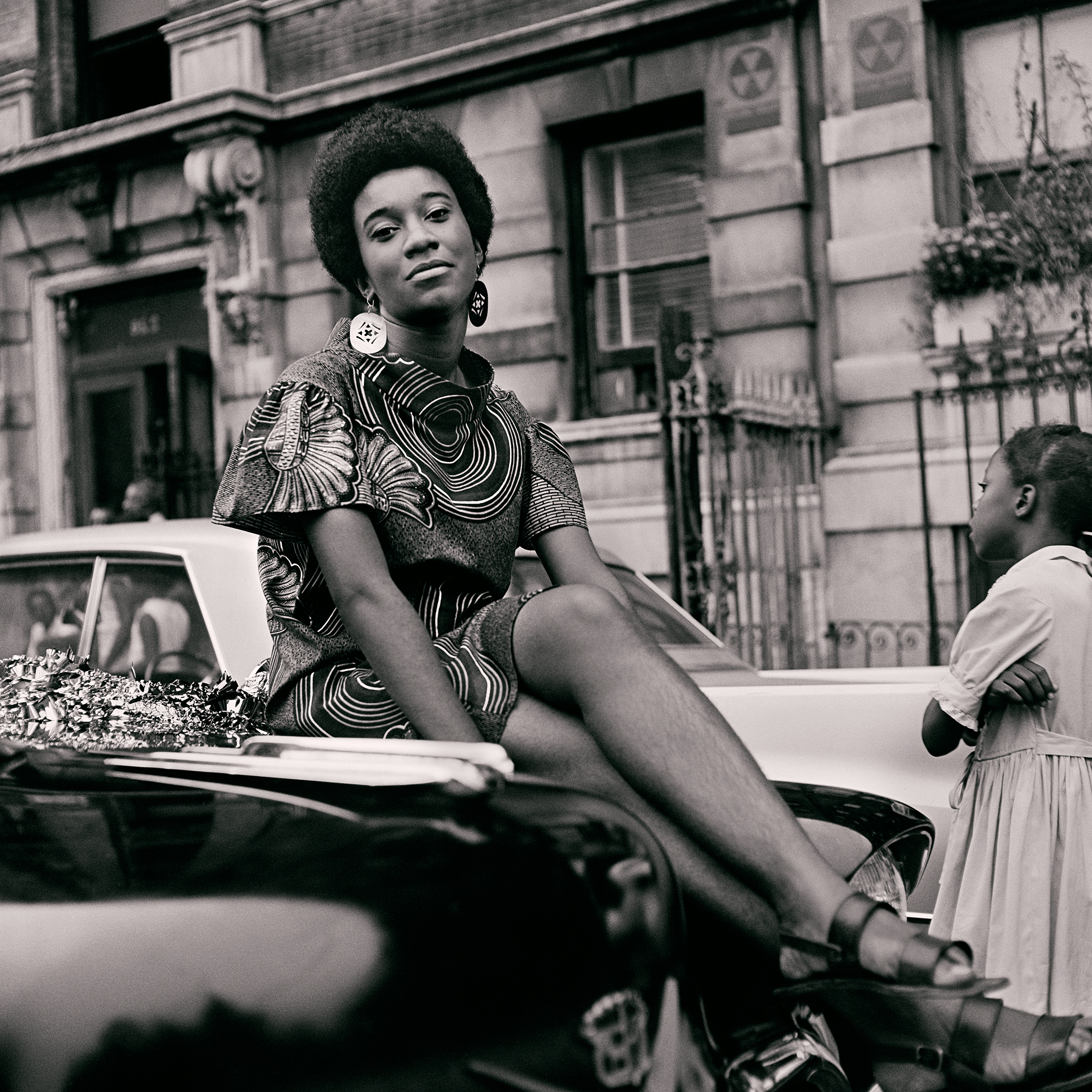 Grandassa model Pat Bardonelle during the Garvey Day Parade, August 17, 1968.