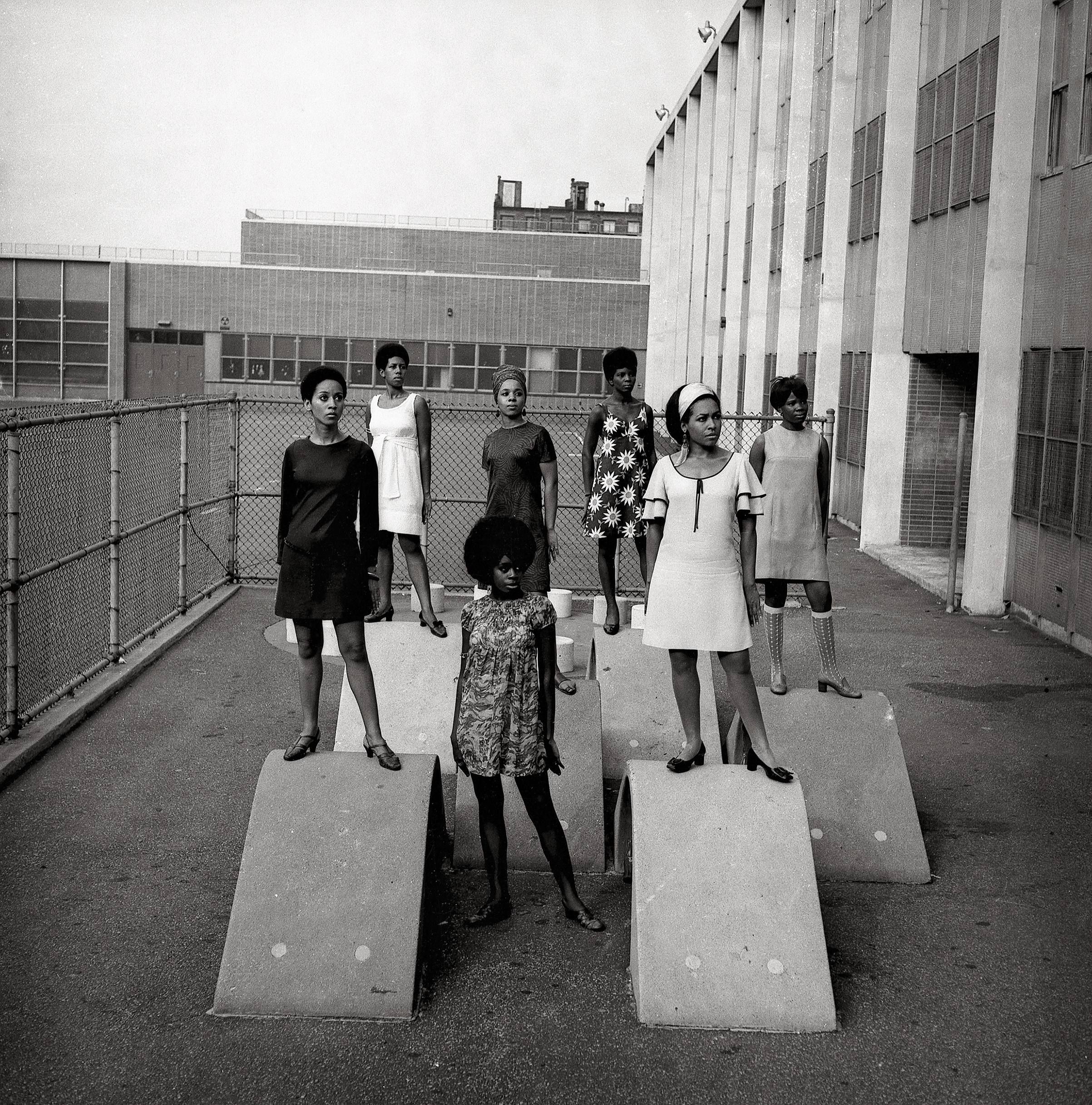 Photo shoot at a school for one of the modeling groups who had begun to embrace natural hairstyles in the 1960s.