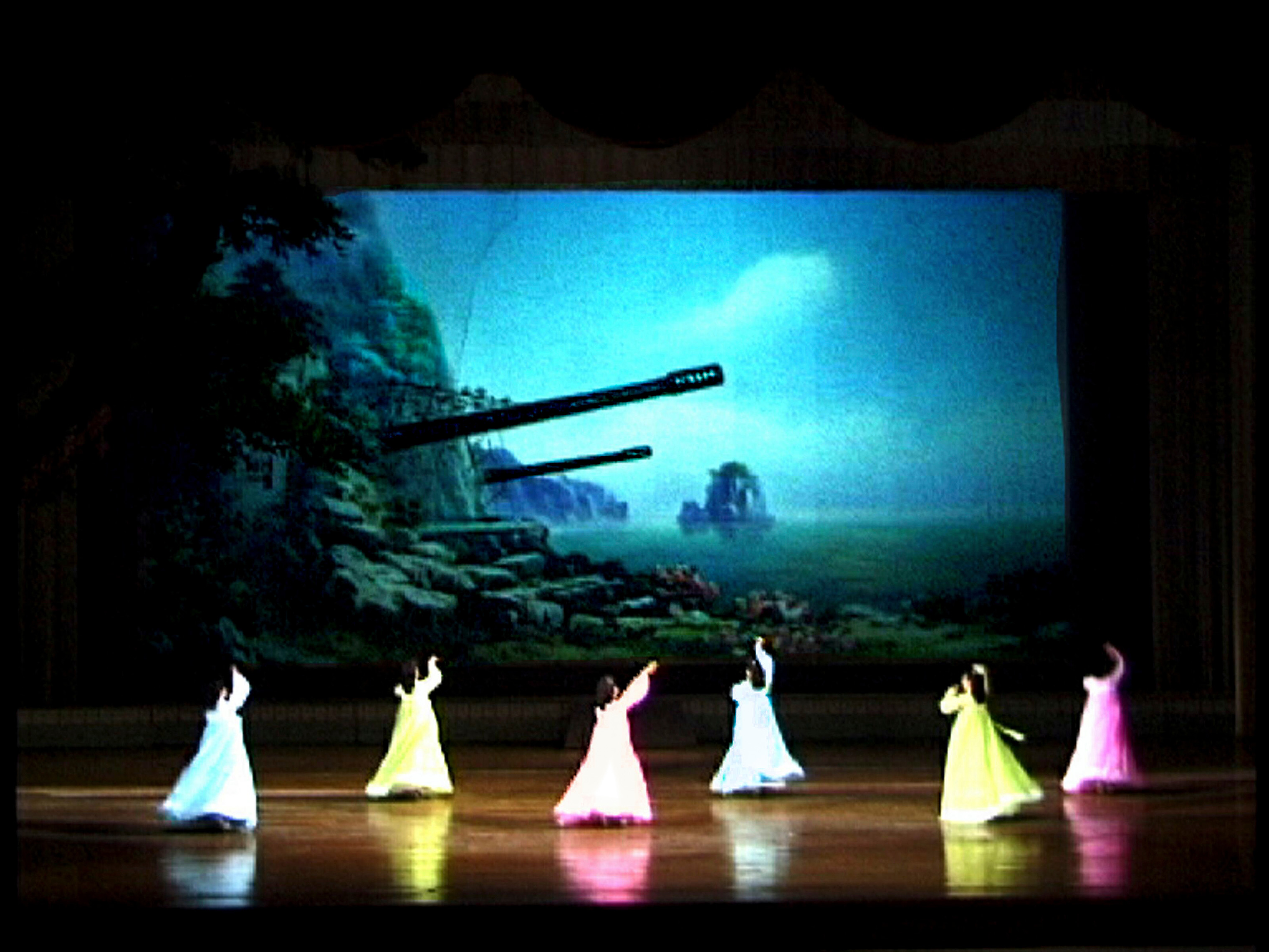A performance in the Youth Central Hall in Pyongyang in 2000.