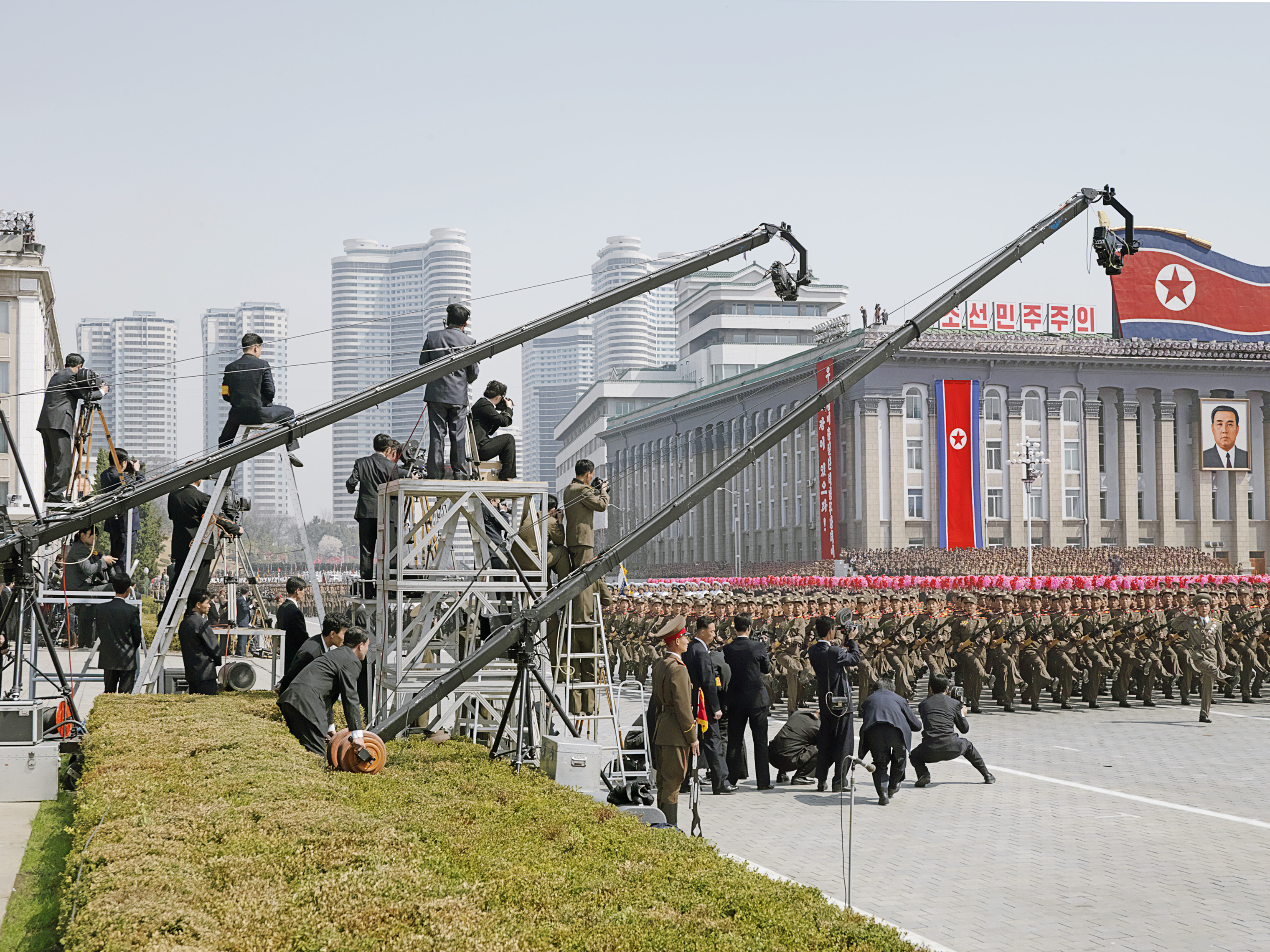 A view of Kim Il Sung Square during the parade celebrating the century since the birth of the  Great Leader  in April 2012.