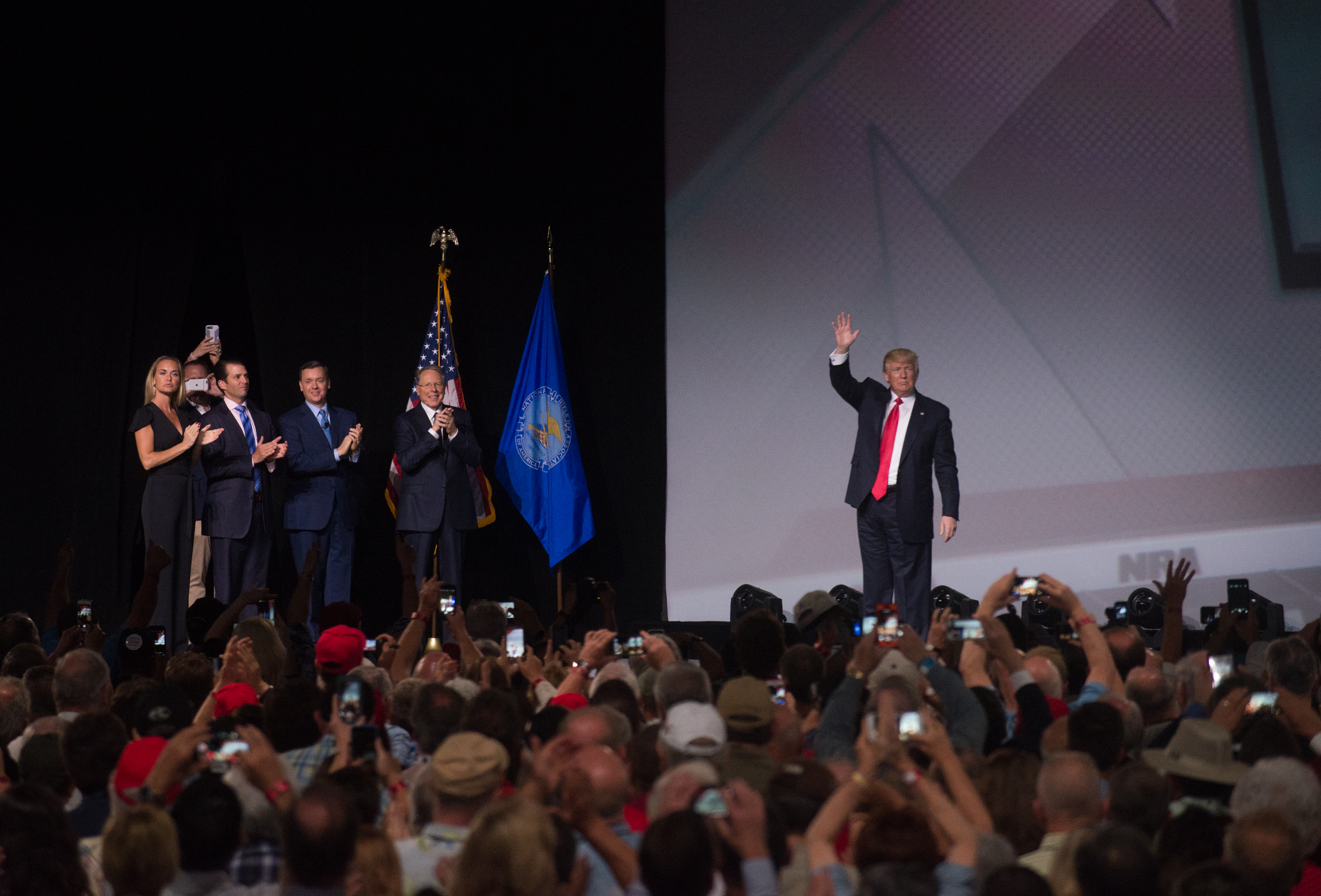 US President Donald Trump arrives to address the National Rifle Association (NRA) Leadership Forum in Atlanta, Georgia on April 28, 2017. For the first time in 30 years a sitting President speaks to the National Rifle Association annual meeting. (Photo by Zach D Roberts/NurPhoto via Getty Images)