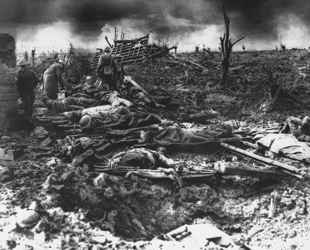 Dawn rising on muddy, horrific battlefield of Passchendaele as soldiers tend to the dead during WWI.
