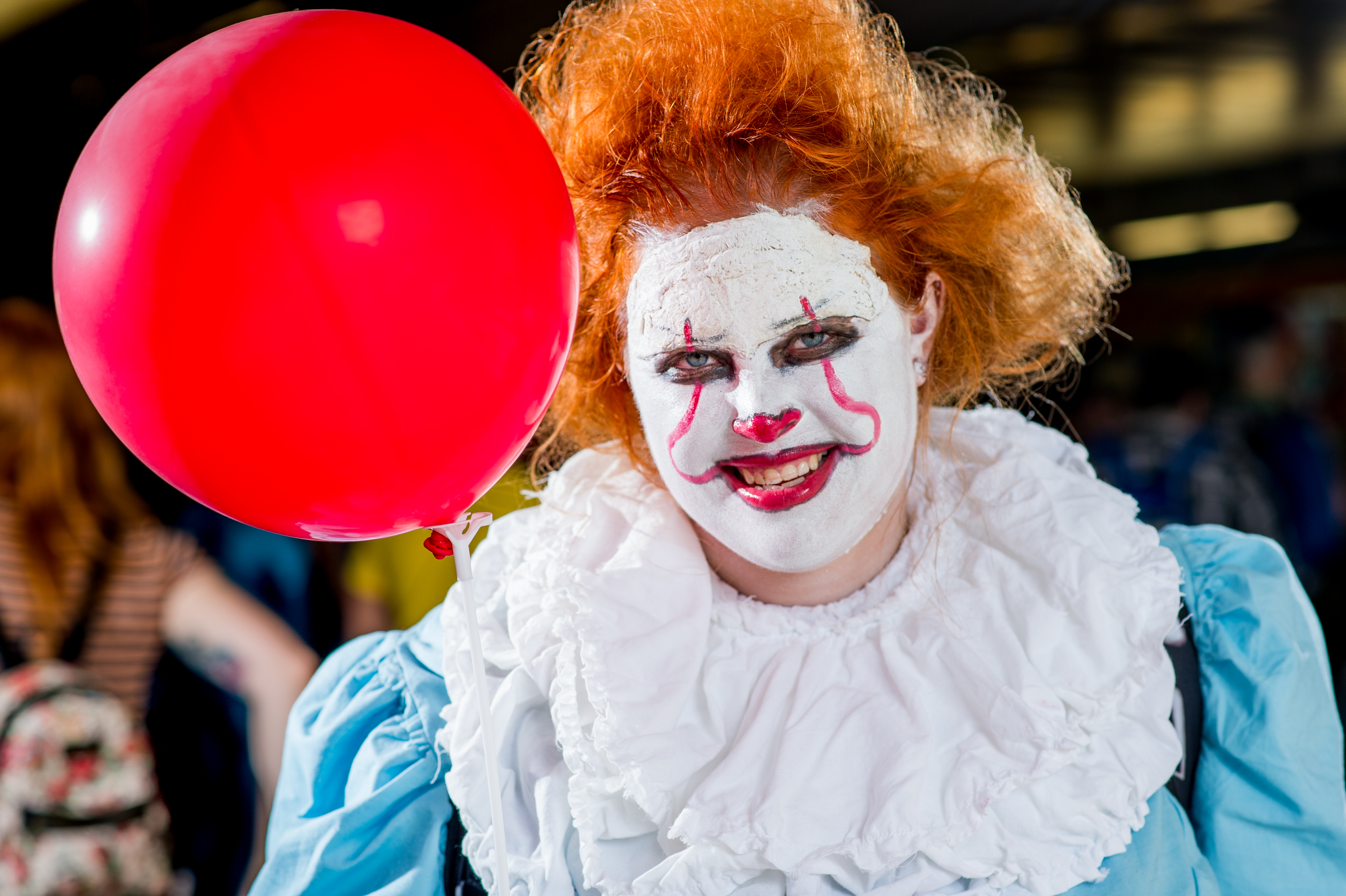 NEW YORK, NY - OCTOBER 06:  A fan cosplays as Pennywise the Dancing Clown from the movie IT during 2017 New York Comic Con - Day 2 on October 6, 2017 in New York City.  (Photo by Roy Rochlin/WireImage,)