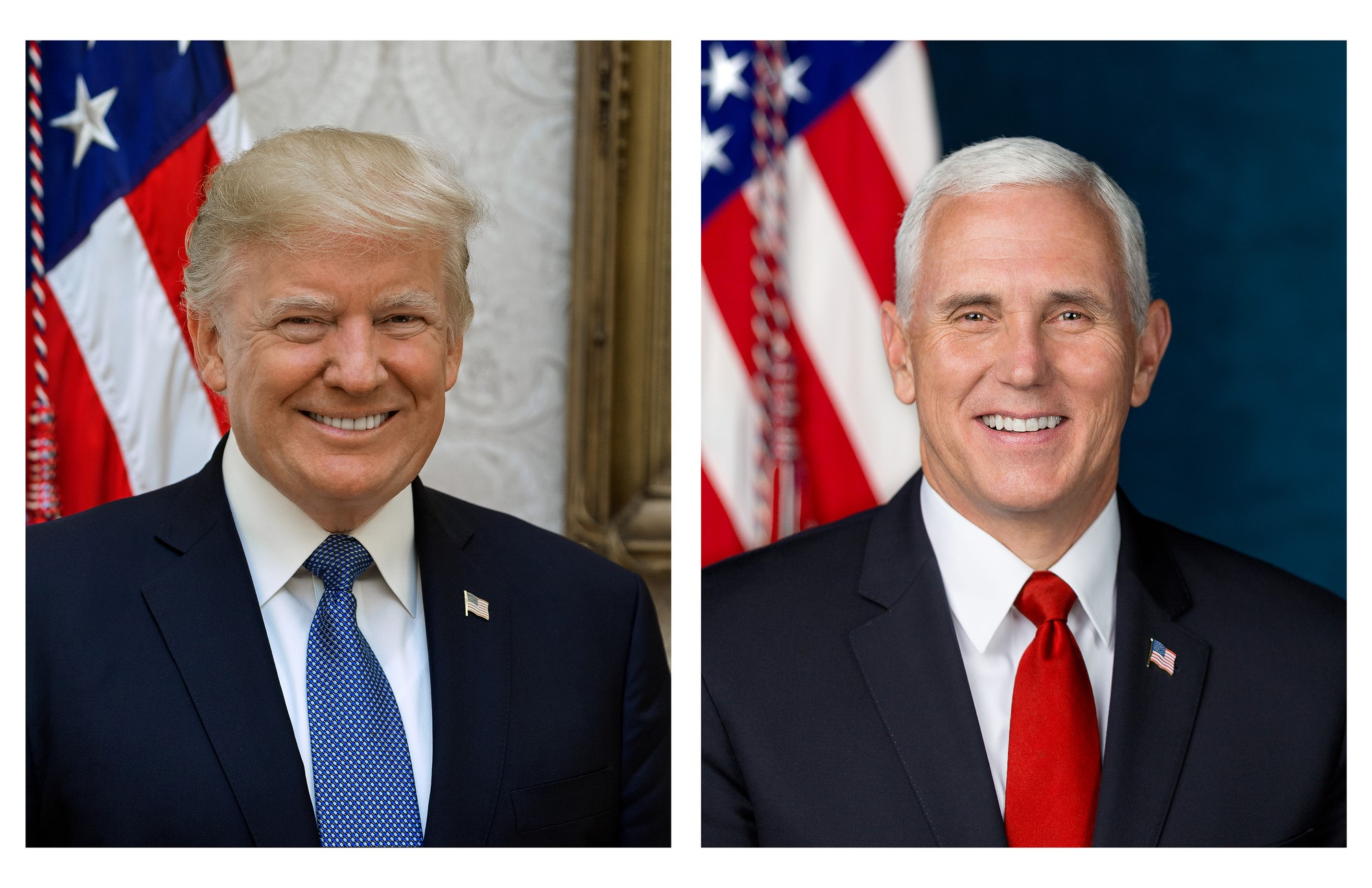 The official portraits of President Donald Trump and Vice President Mike Pence