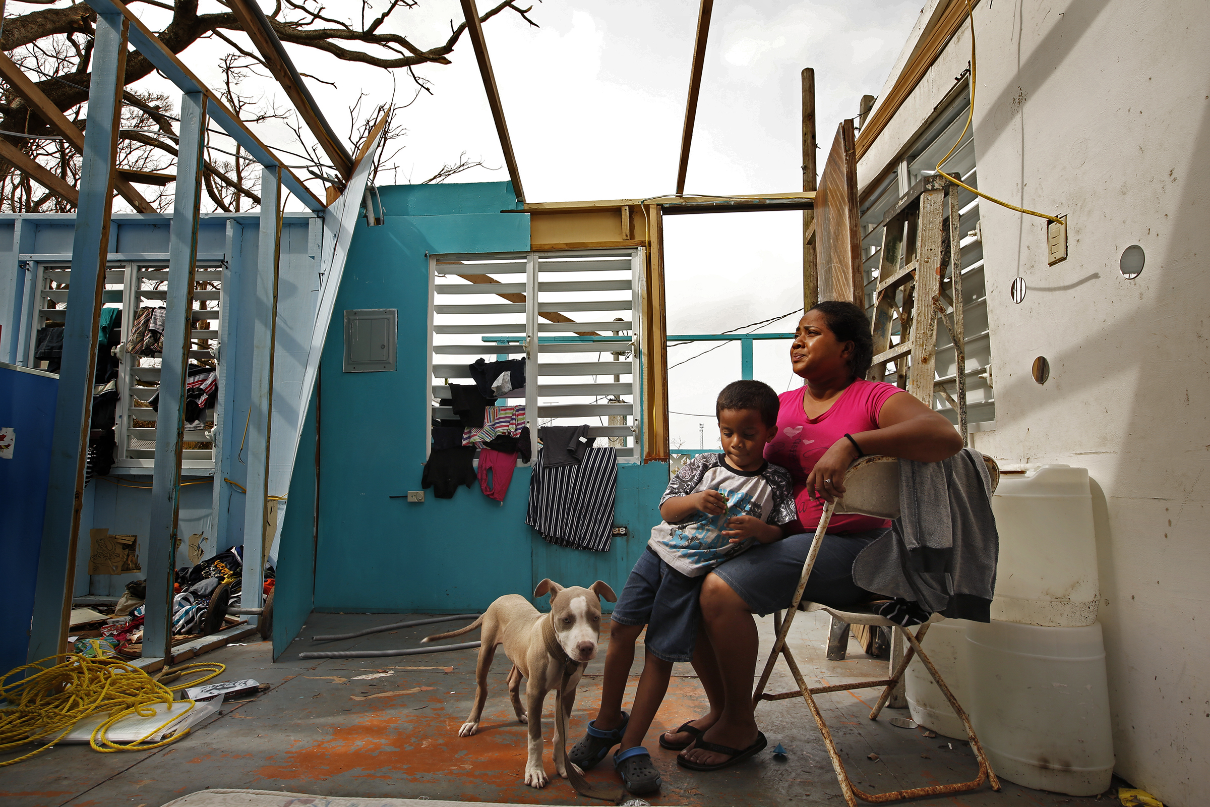 Heydee Perez, age 29, and her son, Yenel Calera, age 4 have not received any aid one week after Hurricane Maria. The roof of their home is gone and they have very little to eat.