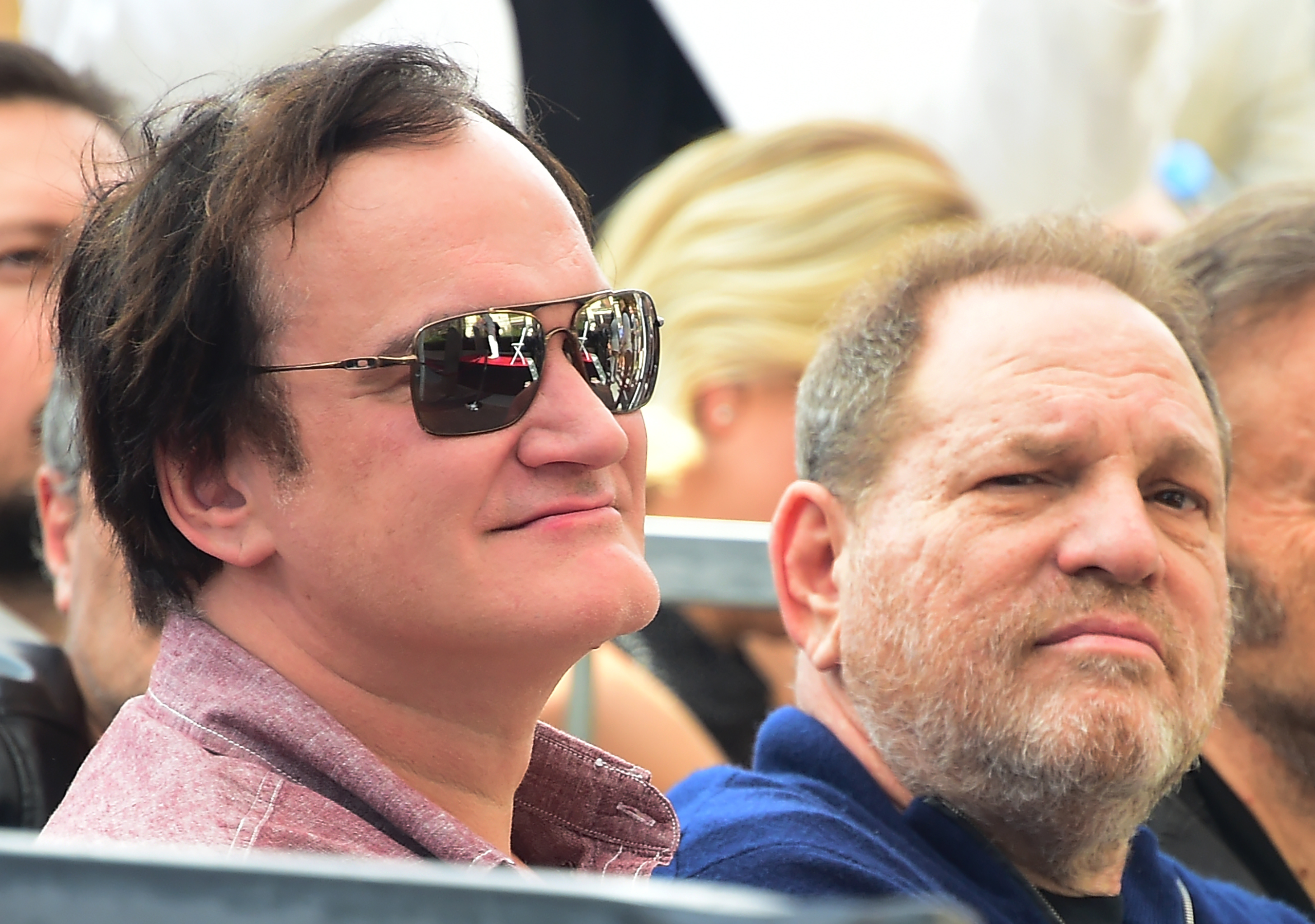 Film director Quentin Tarantino and producer Harvey Weinstein attend Italian composer Ennio Morricone's  Hollywood Walk of Fame Star ceremony on Feb. 26, 2016 in Hollywood.