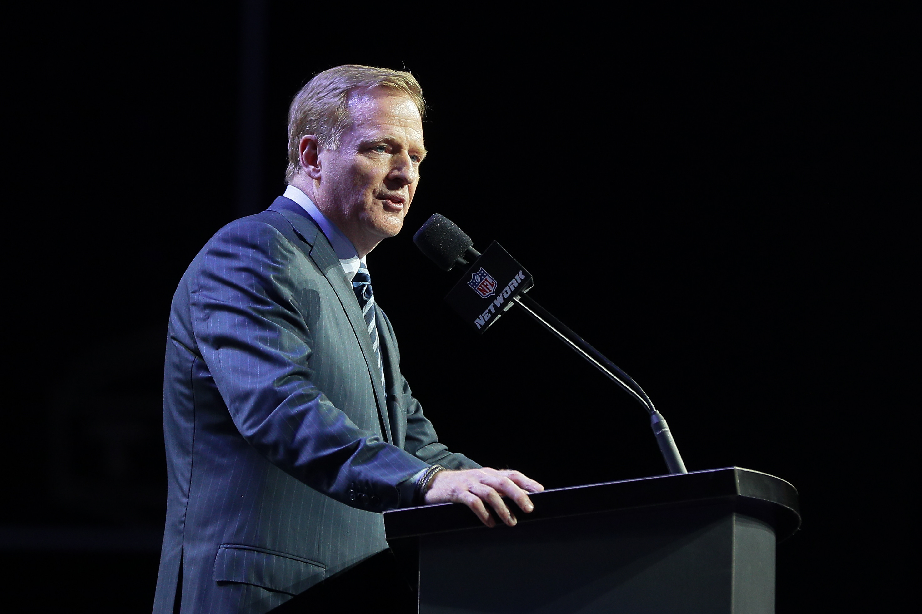 NFL Commissioner Roger Goodell during the first round of the 2017 NFL Draft at the NFL Draft Theater on April 27, 2017 in Philadelphia.