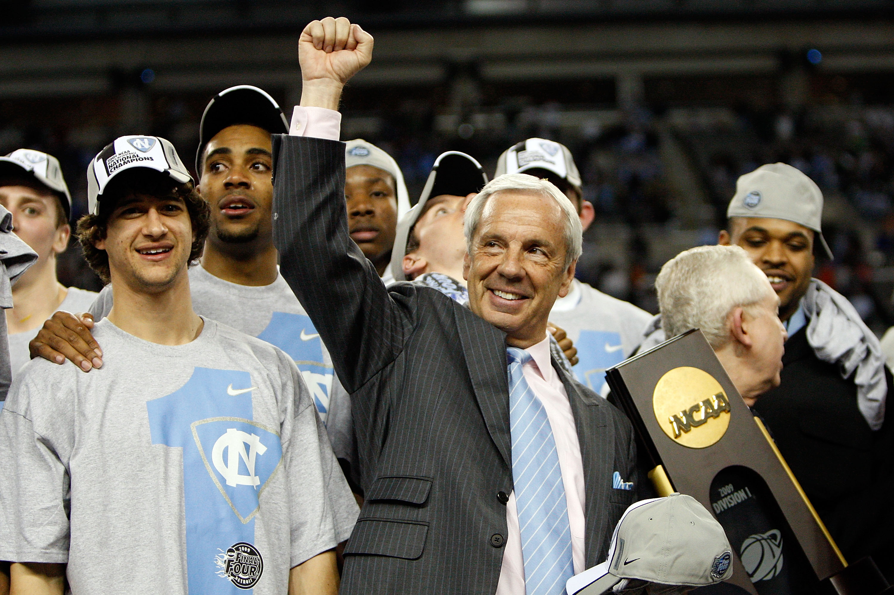 Head coach Roy Williams and the North Carolina Tar Heels celebrates after winning the NCAA Division I Men's Basketball National Championship in 2009.
