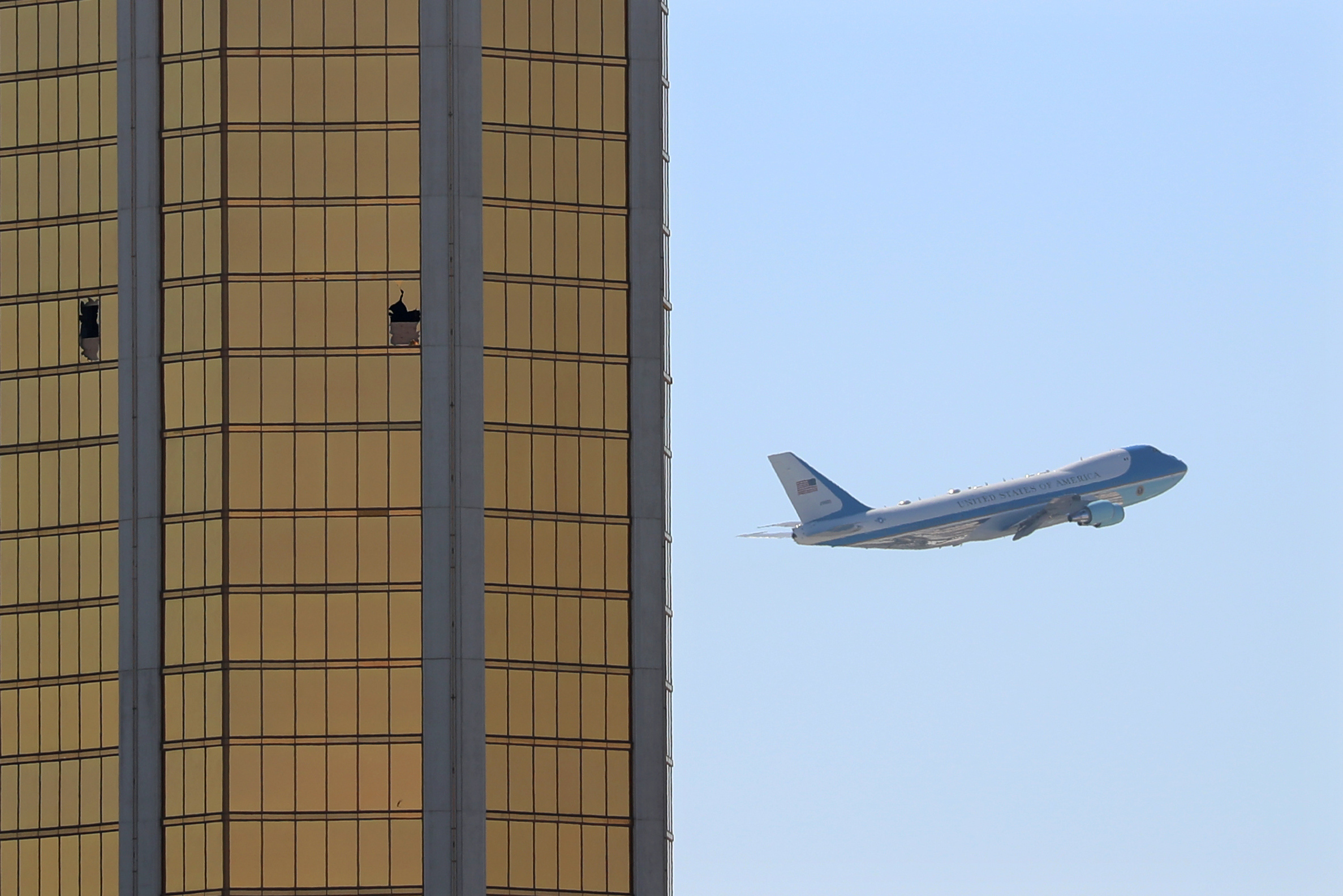 Photo Captures Striking Moment Air Force One Flew by the Broken Windows of the Mandalay Bay Hotel