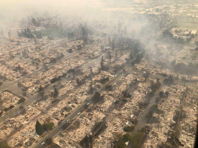 An aerial photo of the devastated Coffey Park neighborhood in Santa Rosa after the North Bay wildfires passed through on Oct. 9, 2017.