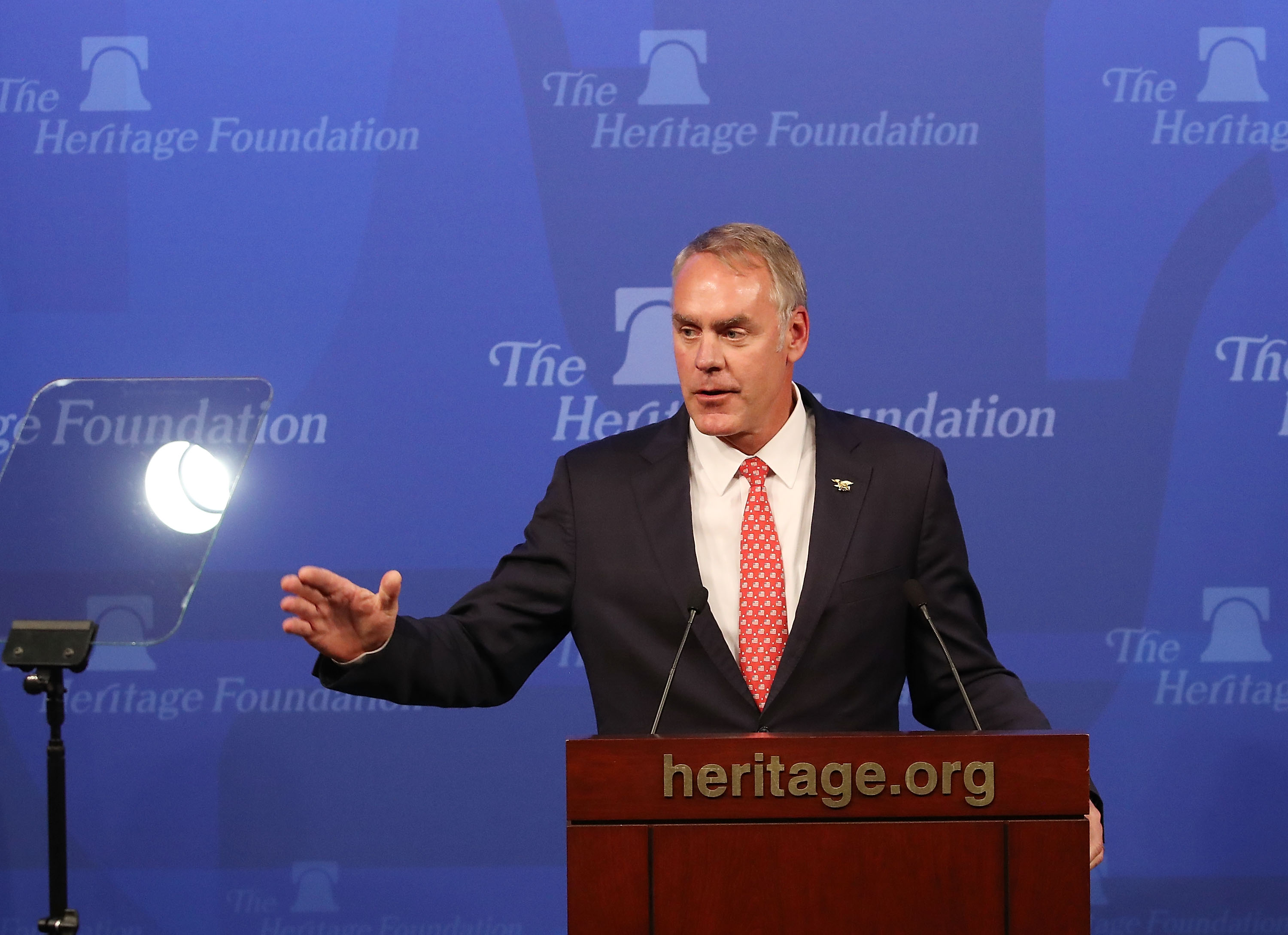 Interior Secretary Ryan Zinke delivers a speech billed as  A Vision for American Energy Dominance  at the Heritage Foundation on Sept. 29, 2017 in Washington, D.C.