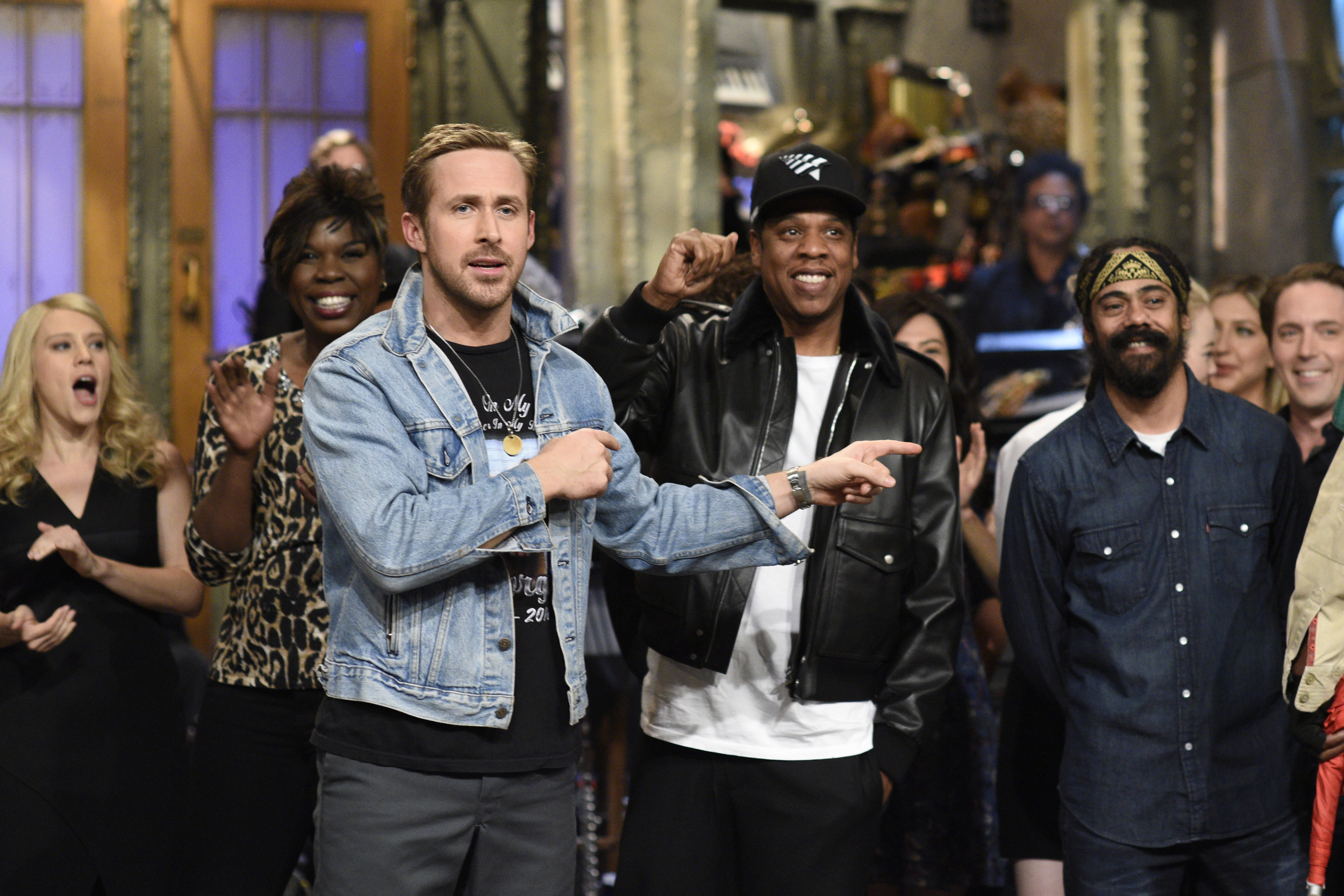 Ryan Gosling, Jay Z and cast on  Saturday Night Live  on Sept. 30, 2017