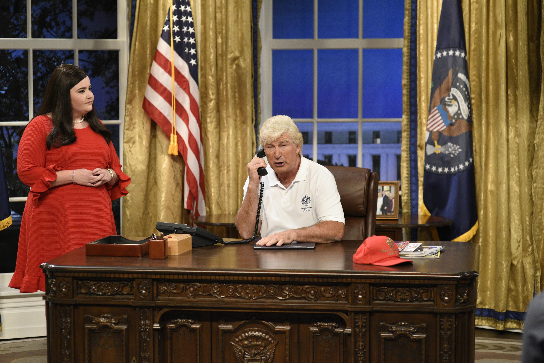 Aidy Bryant as White House press secretary Sarah Huckabee Sanders and Alec Baldwin as President Trump on  Saturday Night Live  on Sept. 30, 2017