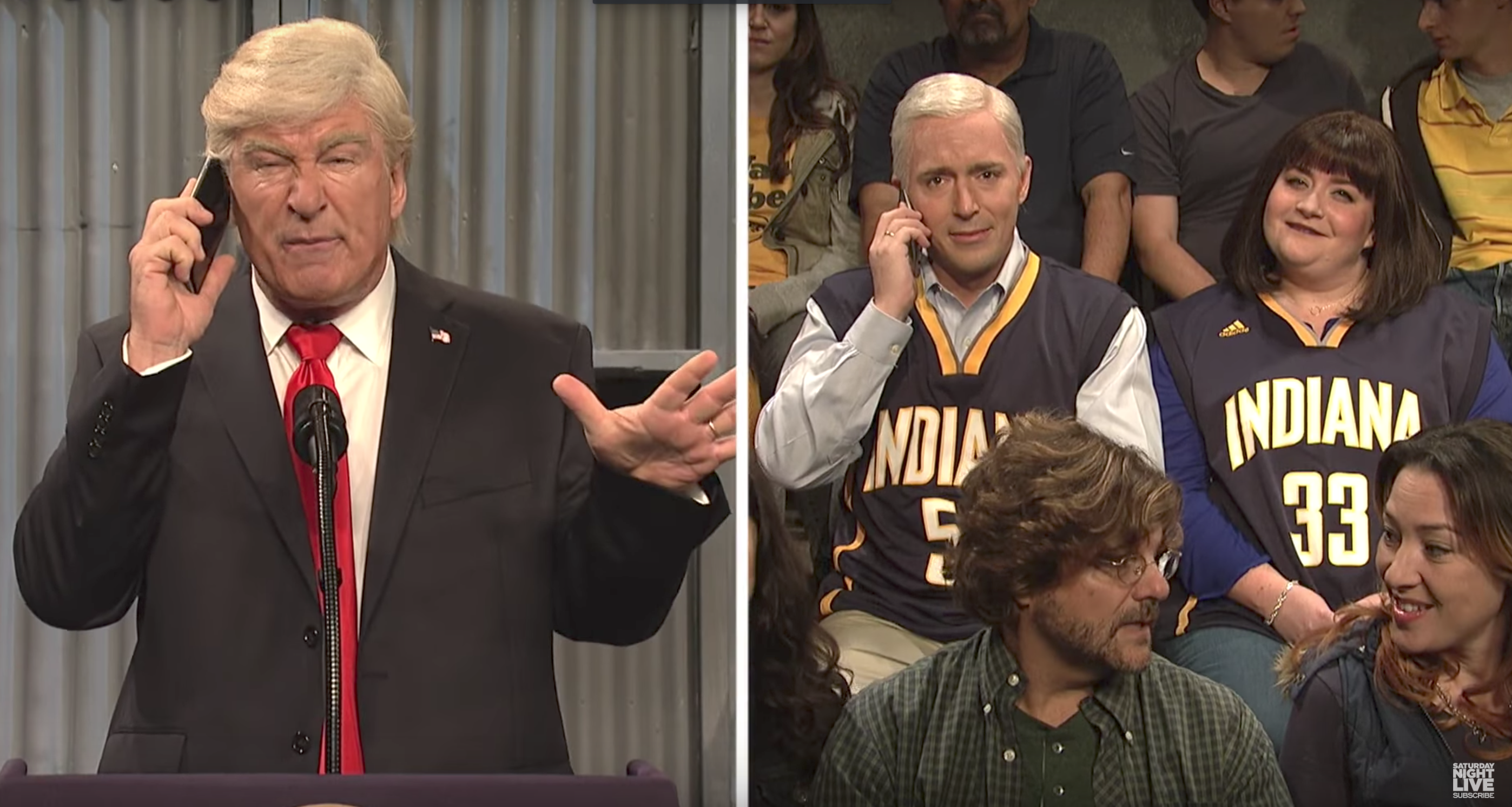 Alec Baldwin as President Trump, Beck Bennett as Vice President Mike Pence, and Aidy Bryant as Second Lady Sharon Pence on  Saturday Night Live