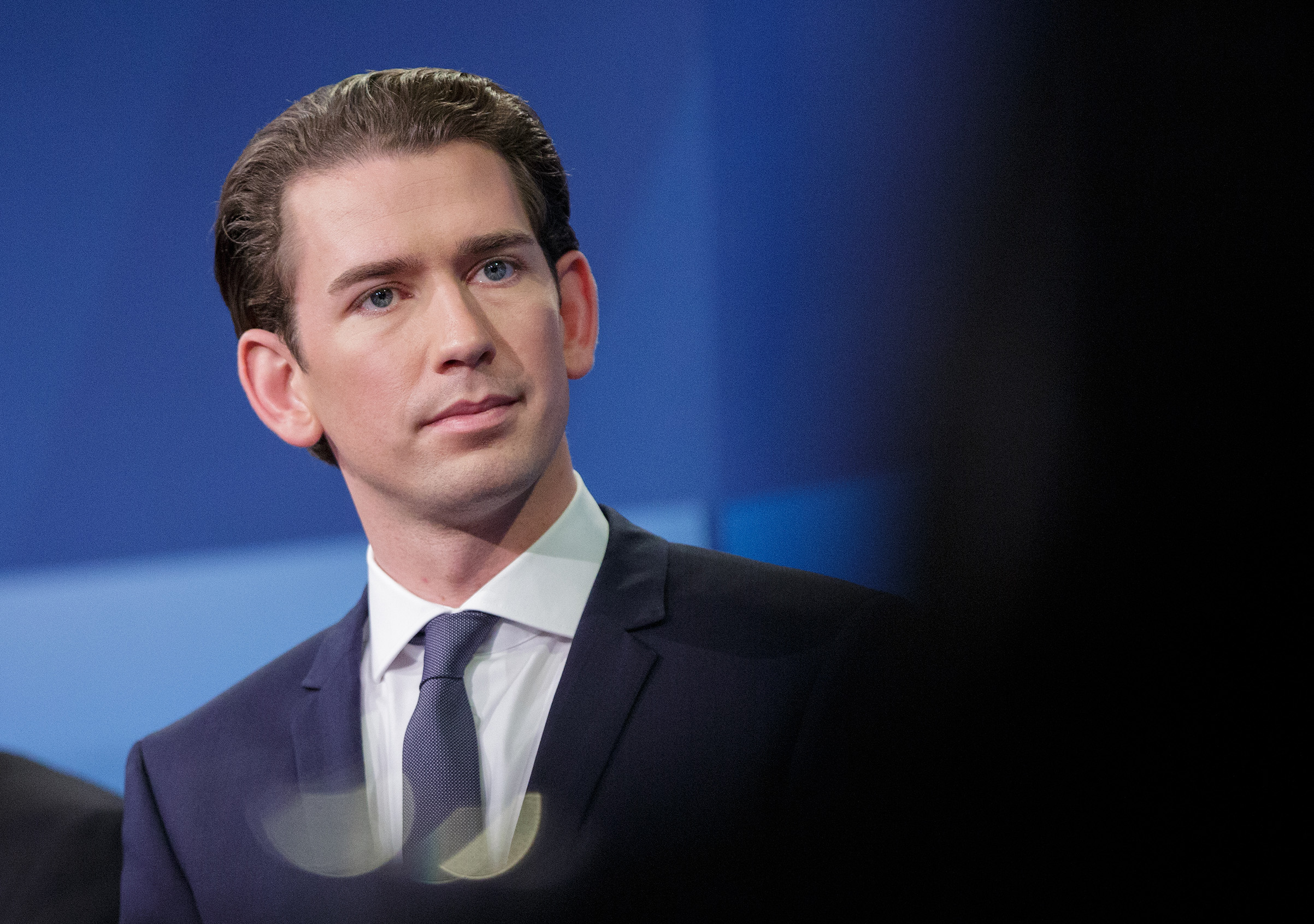 Sebastian Kurz, Austria's foreign minister and leader of the People's Party, participates in a television debate ahead of a federal election in Vienna, Austria, on Oct. 15, 2017.