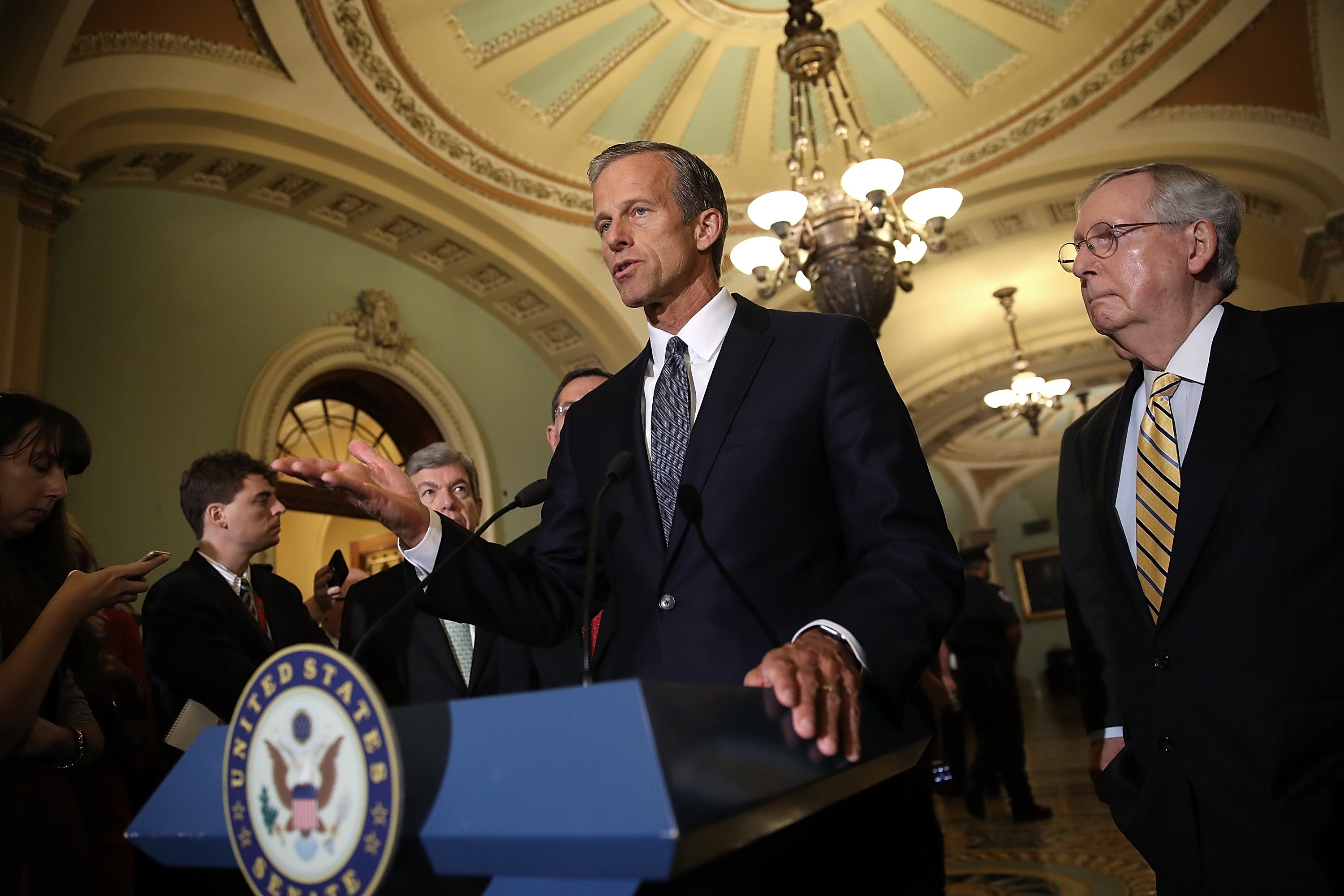 Sen. John Thune speaks with members of the Senate Republican leadership during a press conference at the U.S. Capitol on Sept. 12, 2017 in Washington, DC. During the press conference, Senate Majority Leader Mitch McConnell answered a range of questions relating to the upcoming Senate agenda.