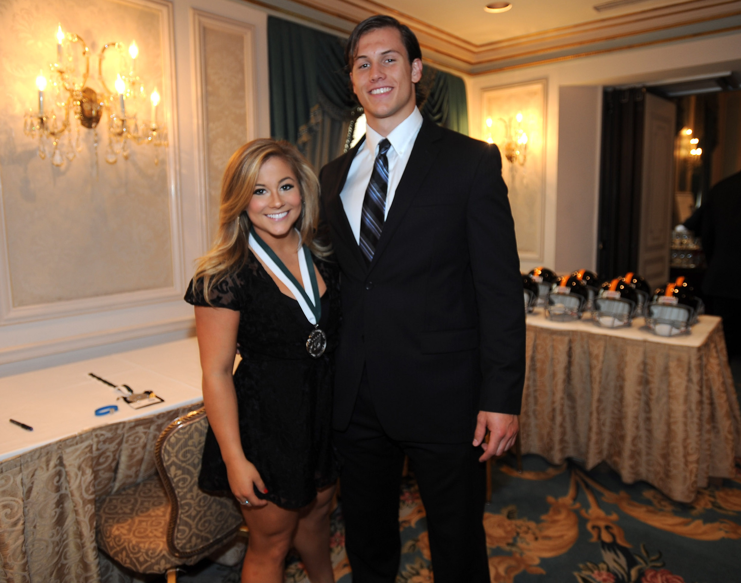 Shawn Johnson East and Andrew East in 2013 in New York
