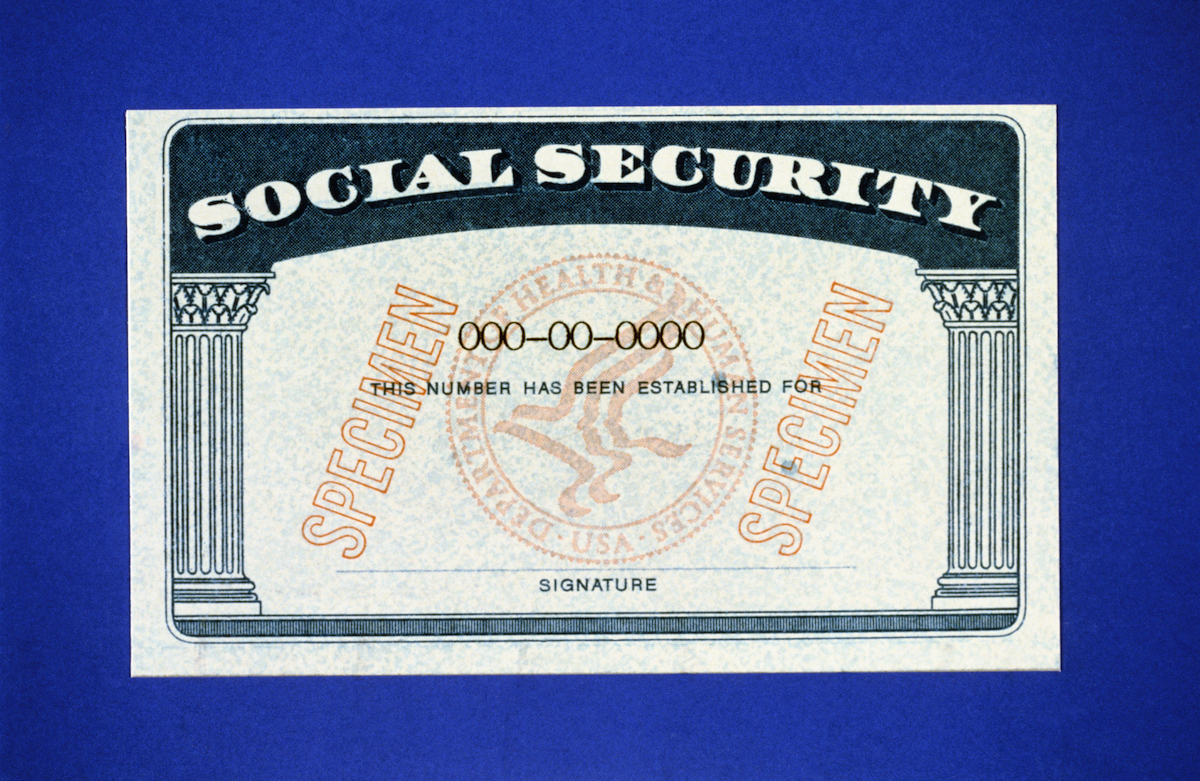 New United States Social Security Card issued on bank-paper.