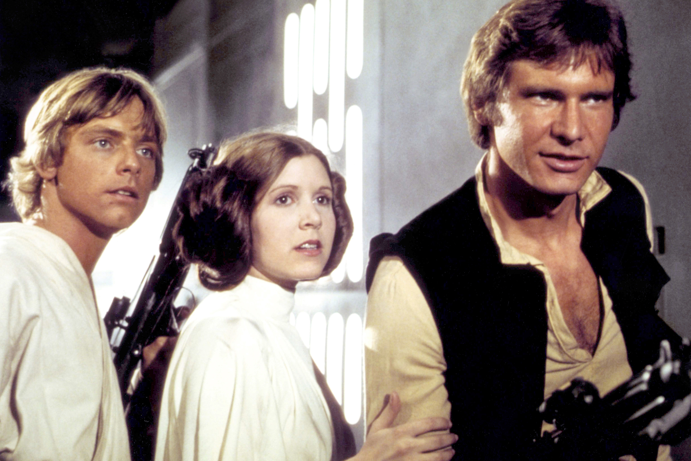Mark Hamill, Carrie Fisher and Harrison Ford on the set of Star Wars: Episode IV - A New Hope.