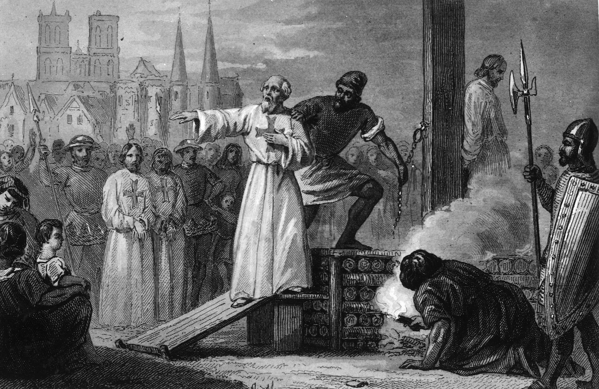 Eighteenth century illustration of Jacques de Molay, the 23rd and Last Grand Master of the Knights Templar, lead to the stake to burn for heresy.
