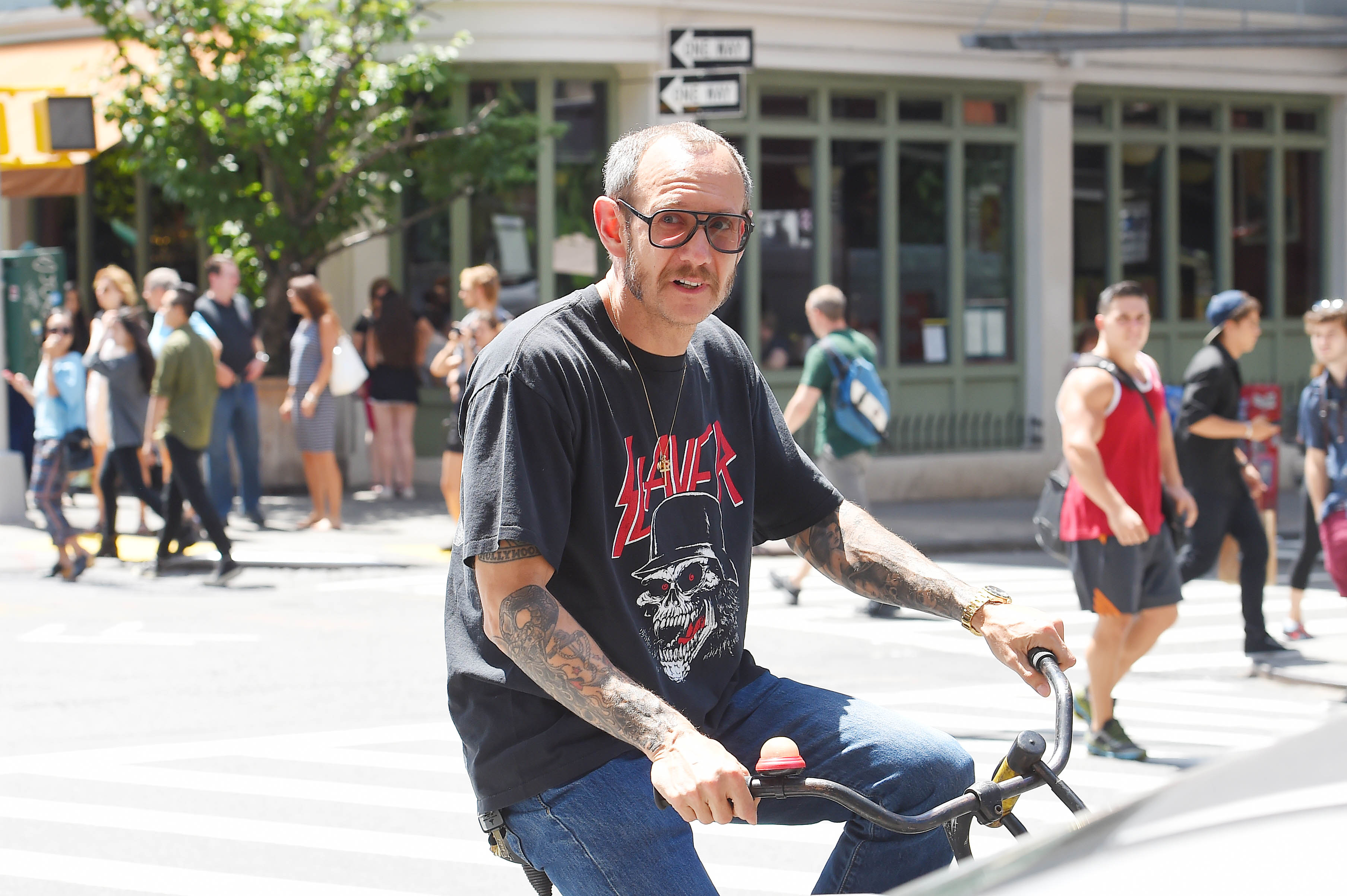 NEW YORK - JULY 24: Terry Richardson seen out in Soho with his bike on July 24, 2015 in New York, New York.  (Photo by Josiah Kamau/BuzzFoto via Getty Images)