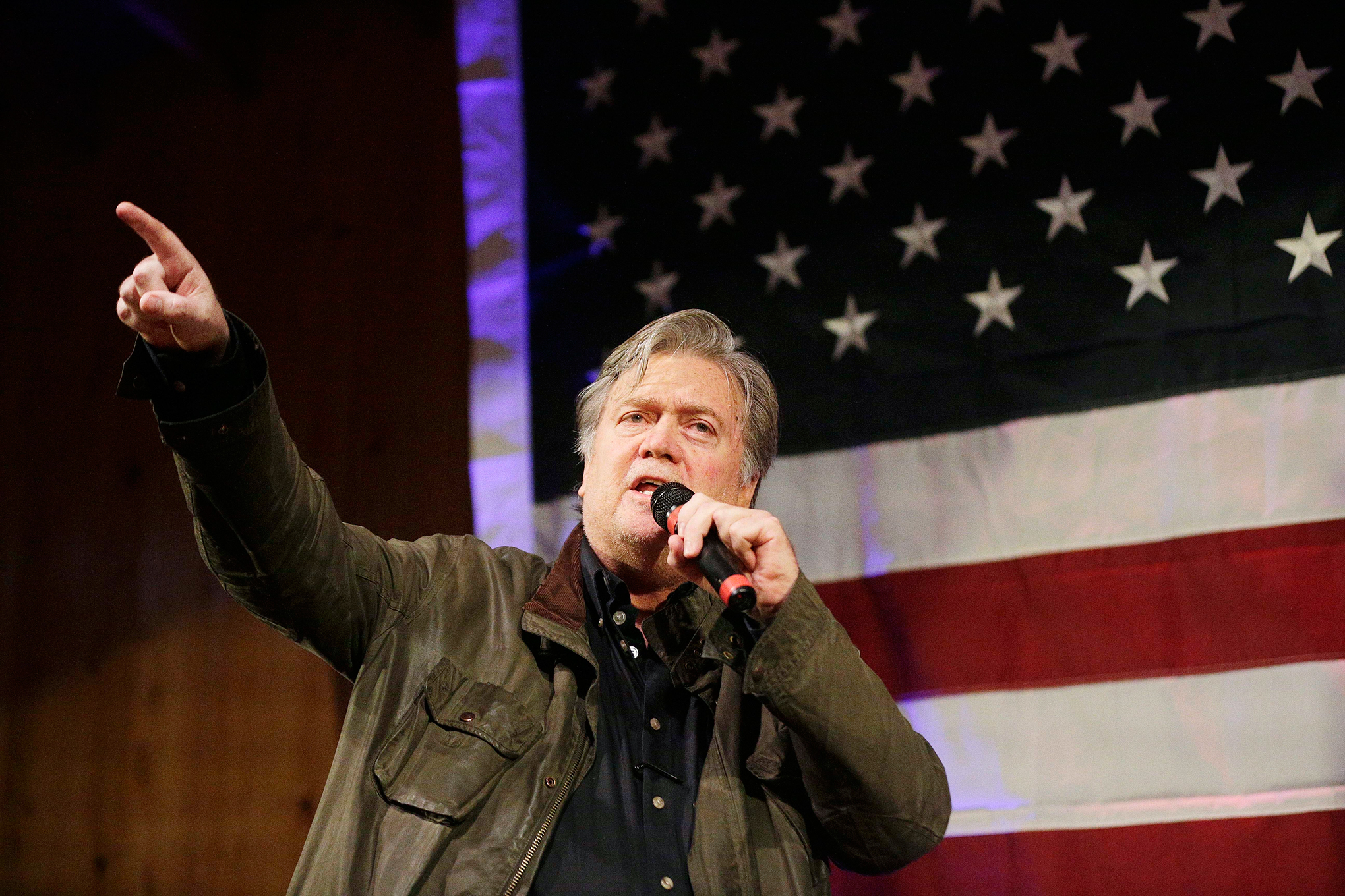 "Bannon, top, has declared a ""civil war"" within the Republican Party and is backing candidates like Moore who pledge to challenge the party establishment in WashingtonSenate Alabama, Fairhope, USA - 25 Sep 2017"