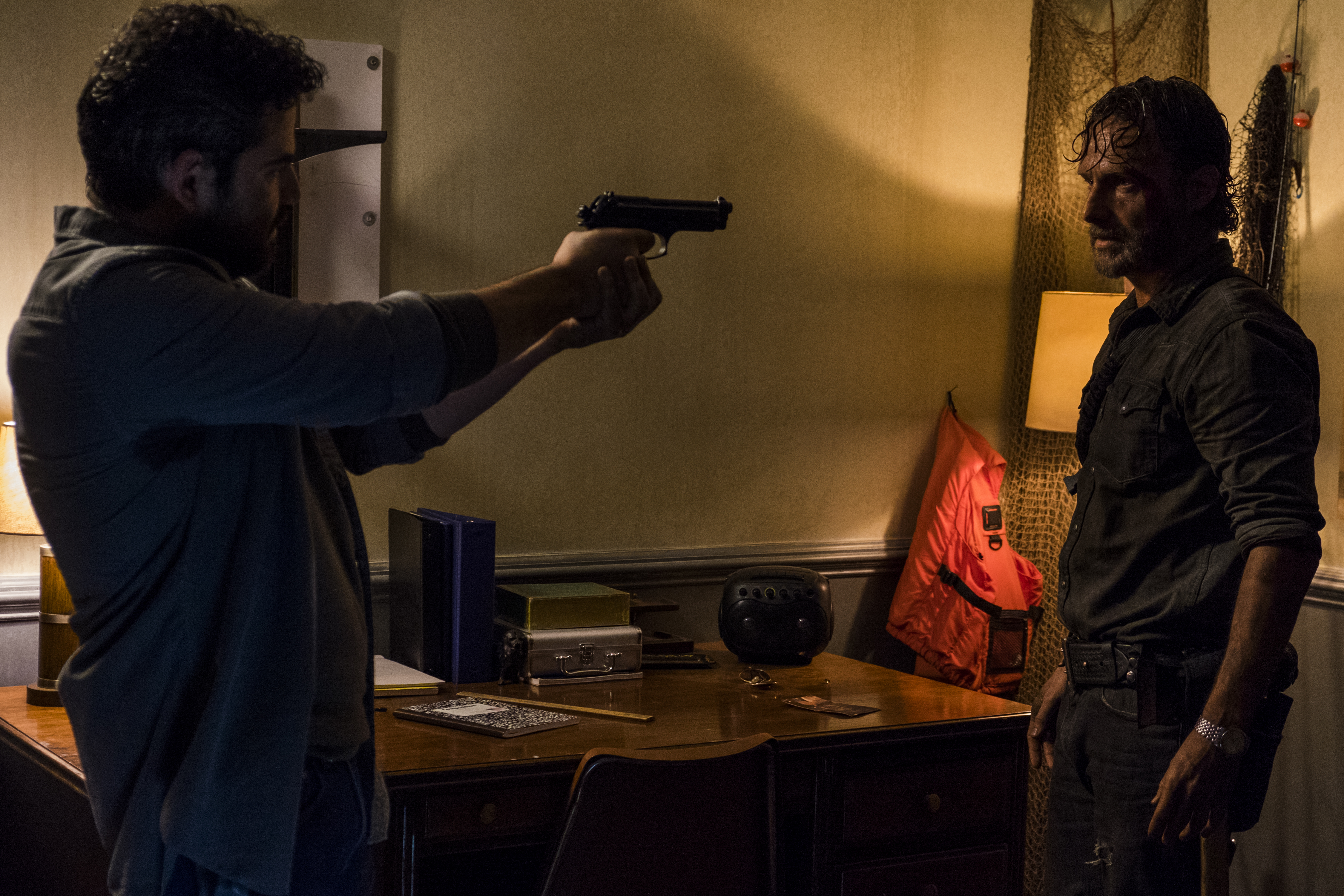 Andrew Lincoln as Rick Grimes and Juan Gabriel Pareja as Morales in The Walking Dead Season 8, Episode 3