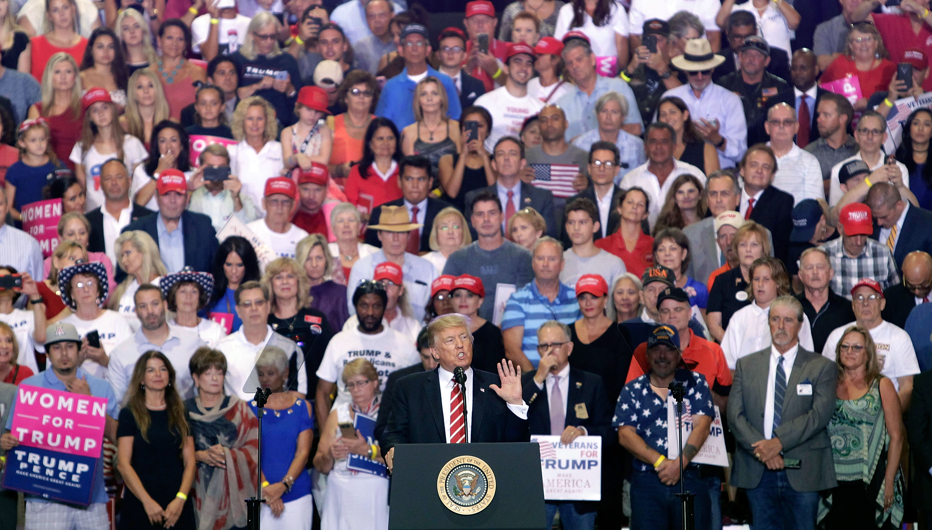 President Donald Trump speaks to a crowd of supporters at the Phoenix Convention Center during a rally on August 22, 2017 in Phoenix, Arizona.