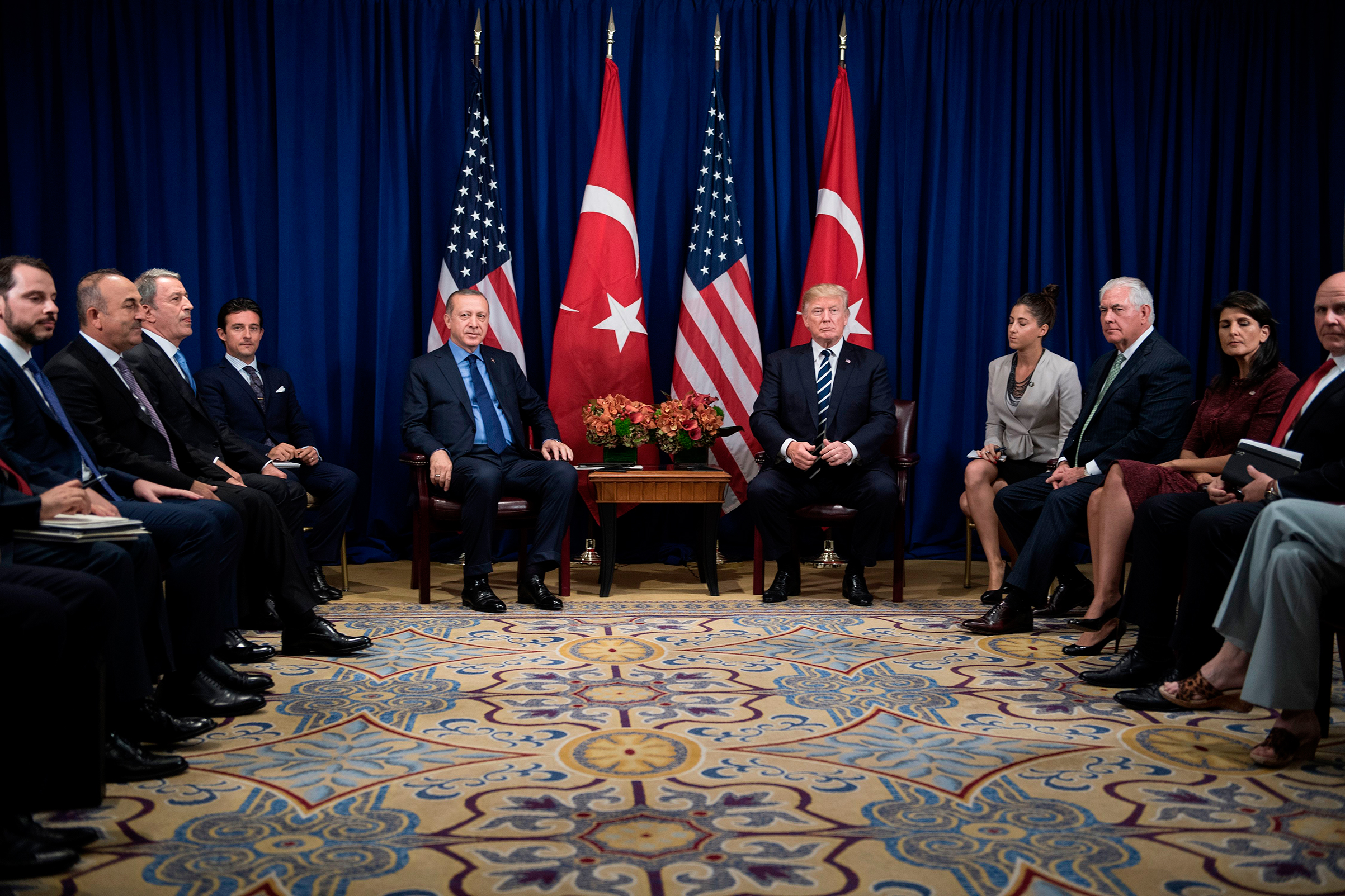 Turkey's President Recep Tayyip Erdogan and US President Donald Trump wait for a meeting at the Palace Hotel during the 72nd United Nations General Assembly Sept. 21, 2017 in New York City.