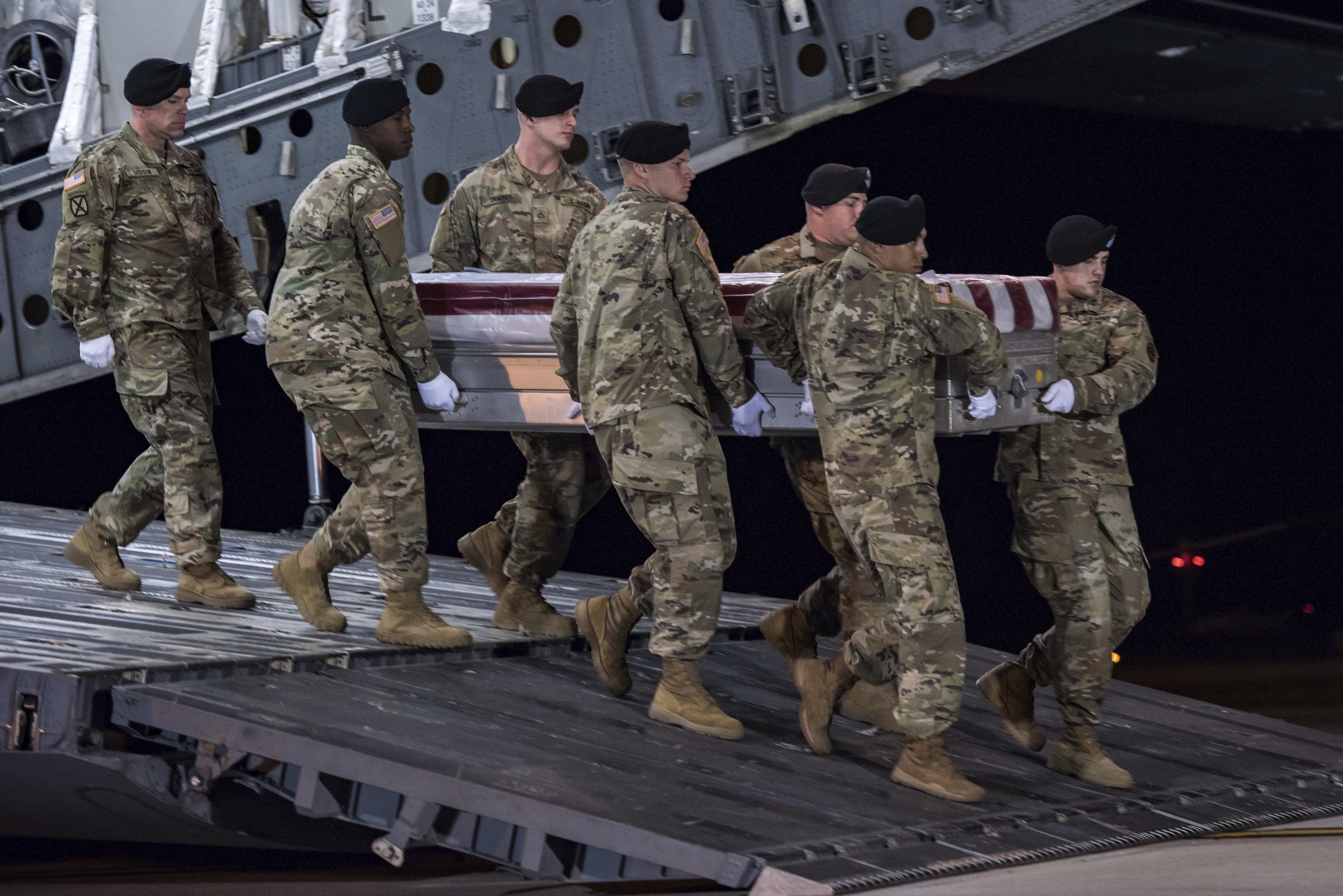 Soldiers carry a transfer case during a casualty return for Staff Sgt. Dustin M. Wright who was killed in an ambush on U.S. and Niger forces on Oct. 4, 2017.