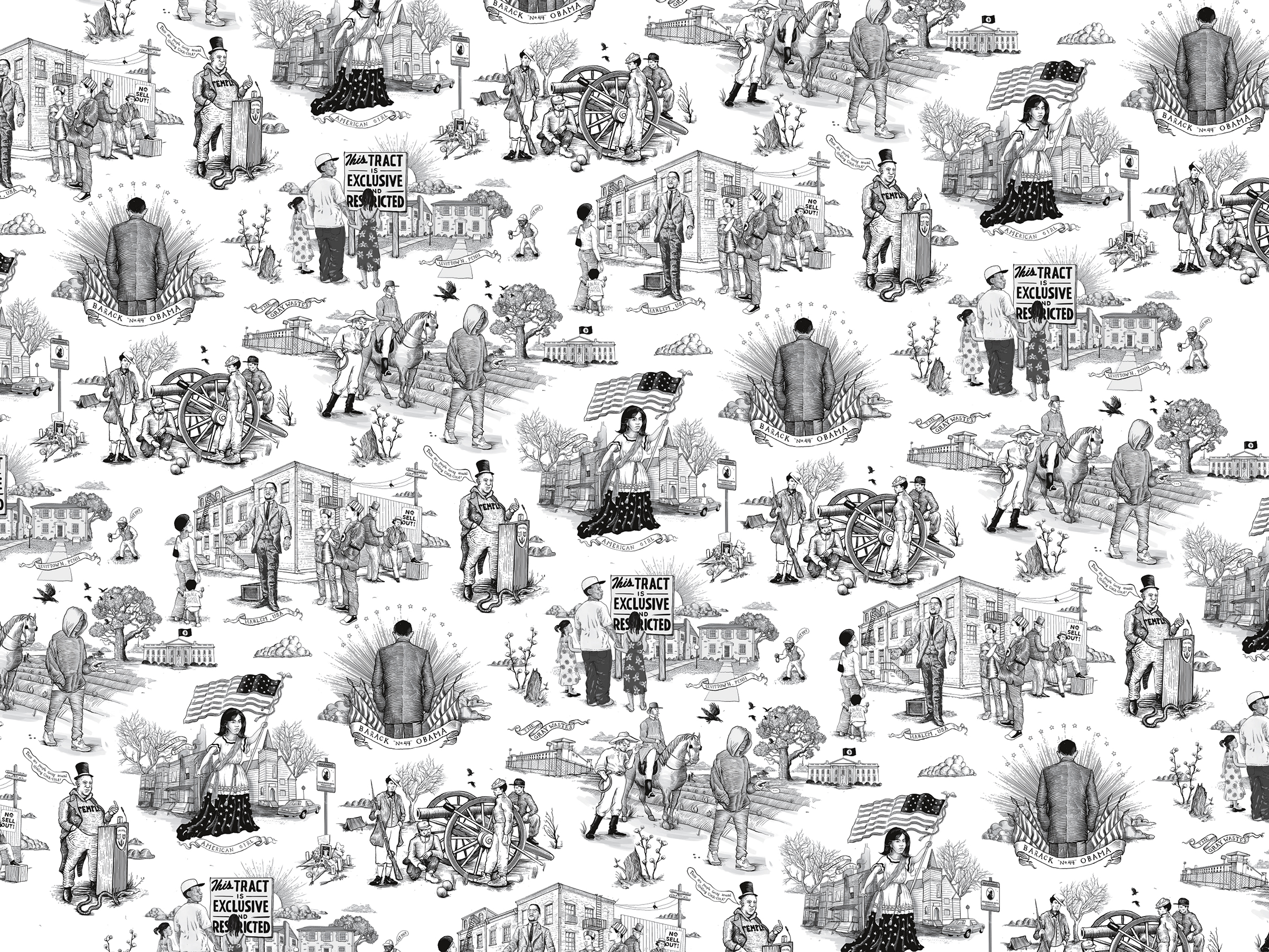 Illustrations on the book's endpapers represent each of Coates' essays