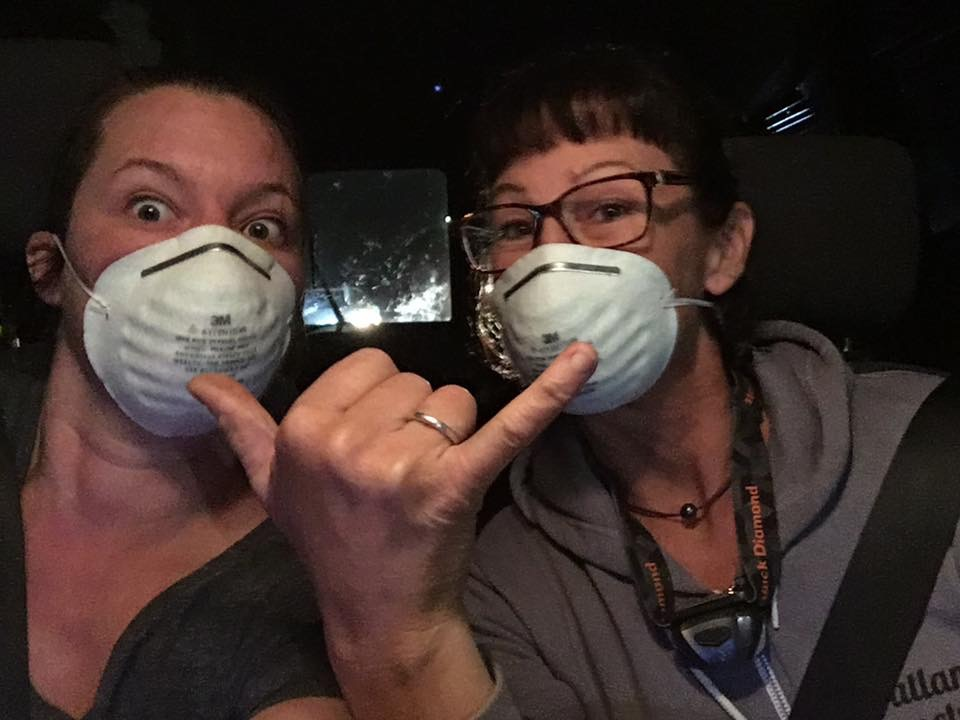 Deborah Blum and fellow volunteer Tracy Starr take a selfie as they drive to rescue farm animals from an evacuation zone.