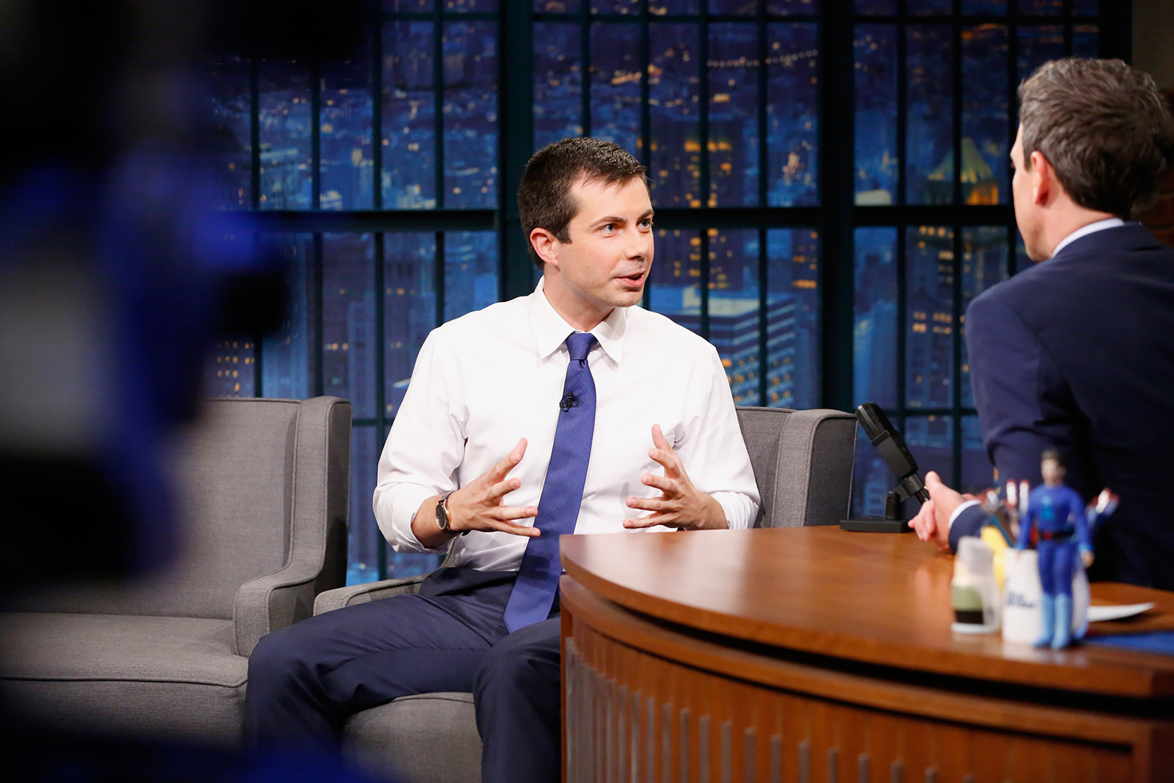 Pete Buttigieg - The 35-year-old, pictured here on Late Night with Seth Meyers, says his view of national security was shaped by serving in Afghanistan