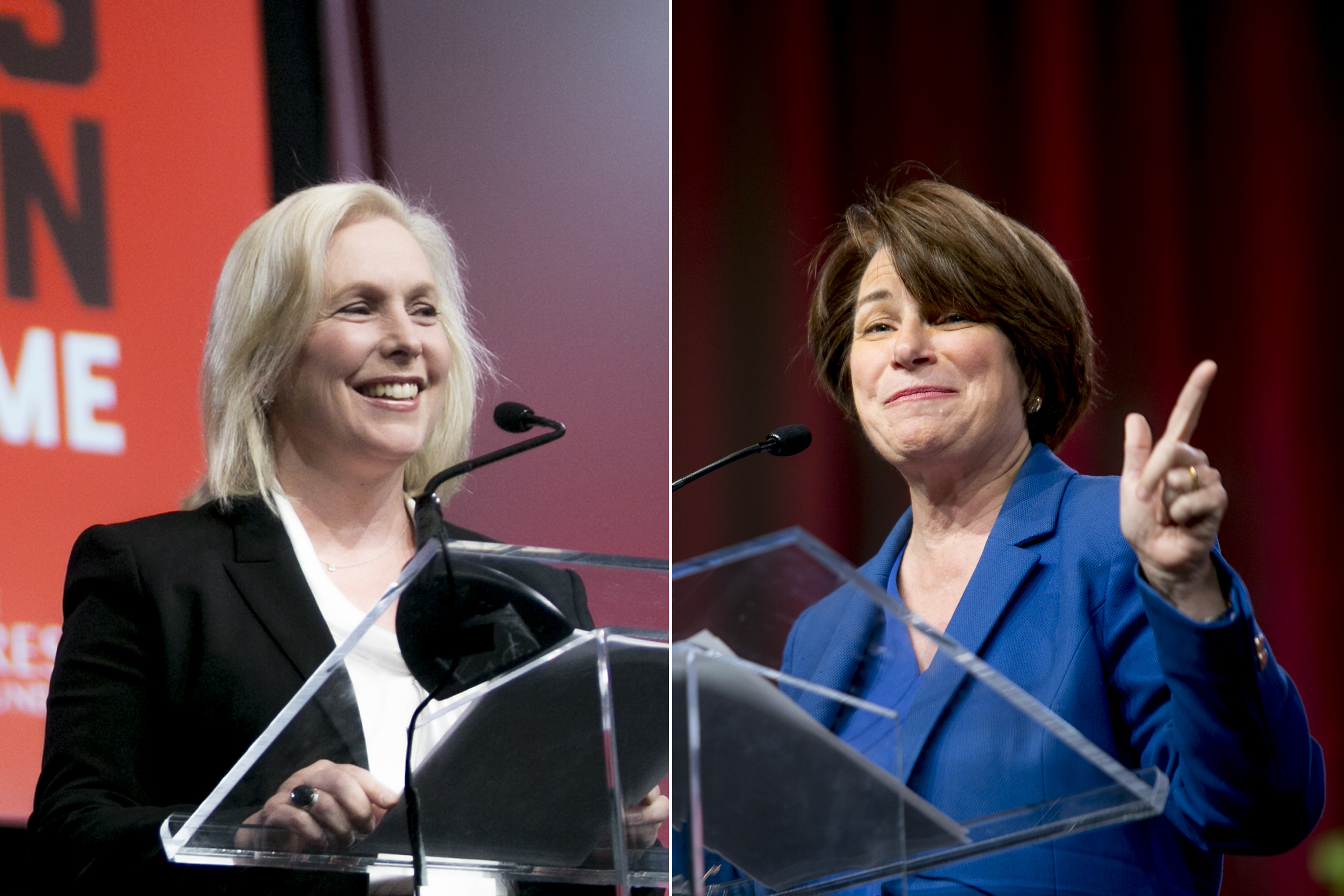 Senator Kirsten Gillibrand and Senator Amy Klobuchar speak during the Women's Convention in Detroit, on Oct. 27, 2017.