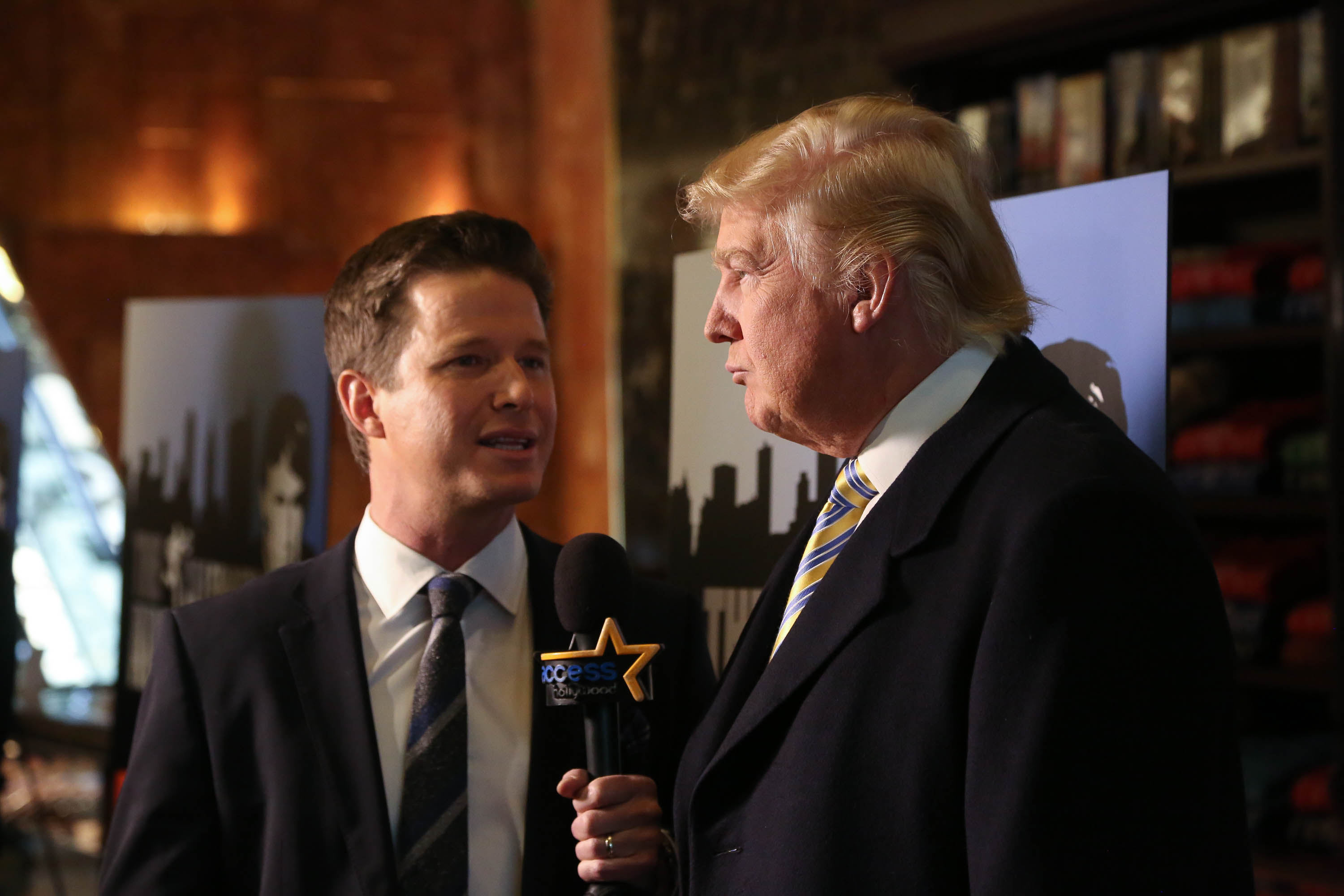 Donald Trump (R) is interviewed by Billy Bush of Access Hollywood at  Celebrity Apprentice  Red Carpet Event at Trump Tower on Jan. 20, 2015 in New York City.