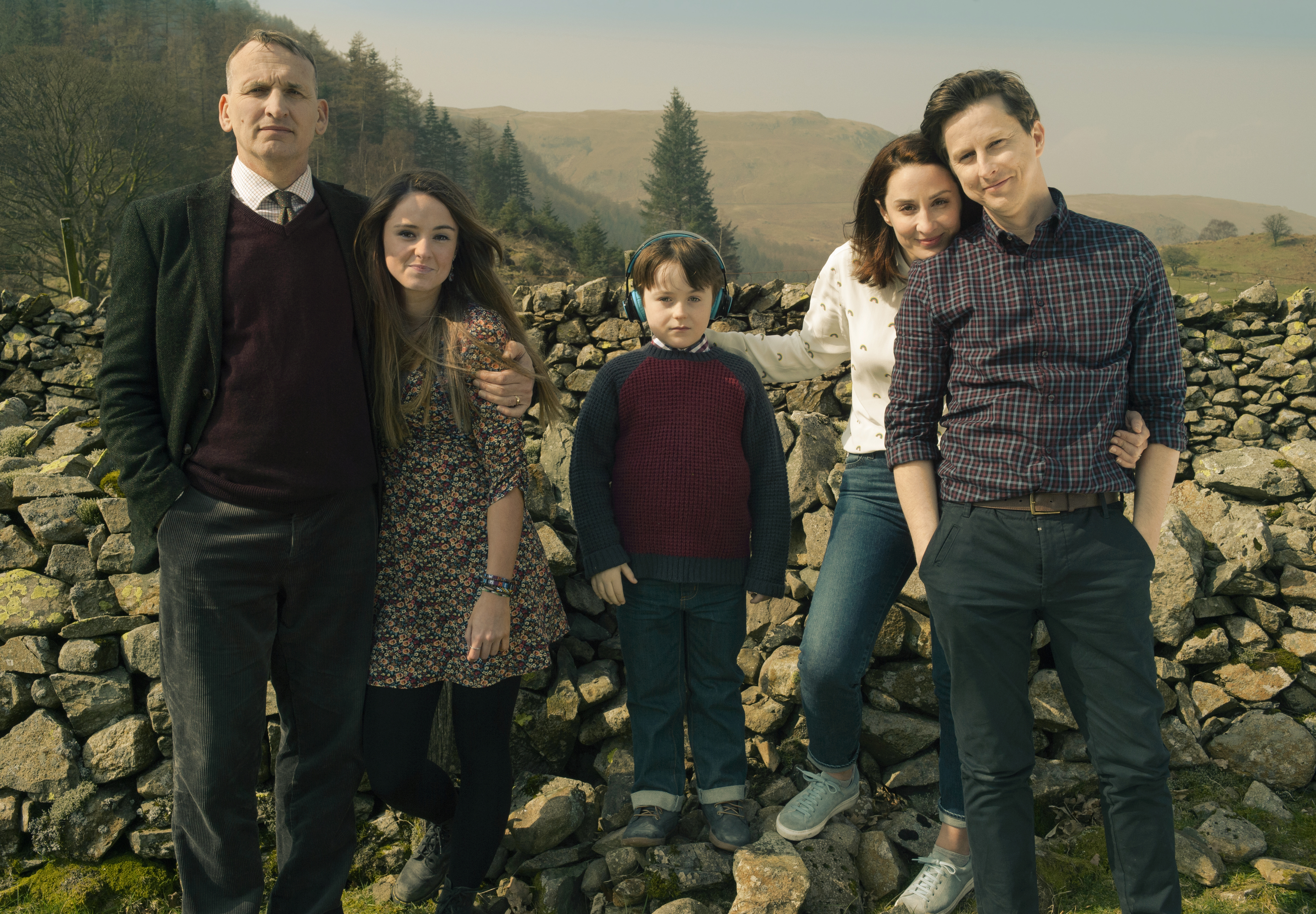 Still from The A Word. (Left to Right: Christopher Eccleston, Mollie Wright, Max Vento, Morven Christie, and Lee Ingleby)