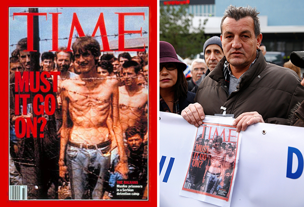 Fikret Alic holds a copy of the Aug. 17, 1992, cover of TIME—on which he appeared—outside the trial of former Bosnian Serb military commander Ratko Mladic in the Hague on Nov. 22, 2017. The United Nations' Yugoslav war crimes tribunal convicted Mladic of genocide and crimes against humanity, and sentenced him to life in prison.