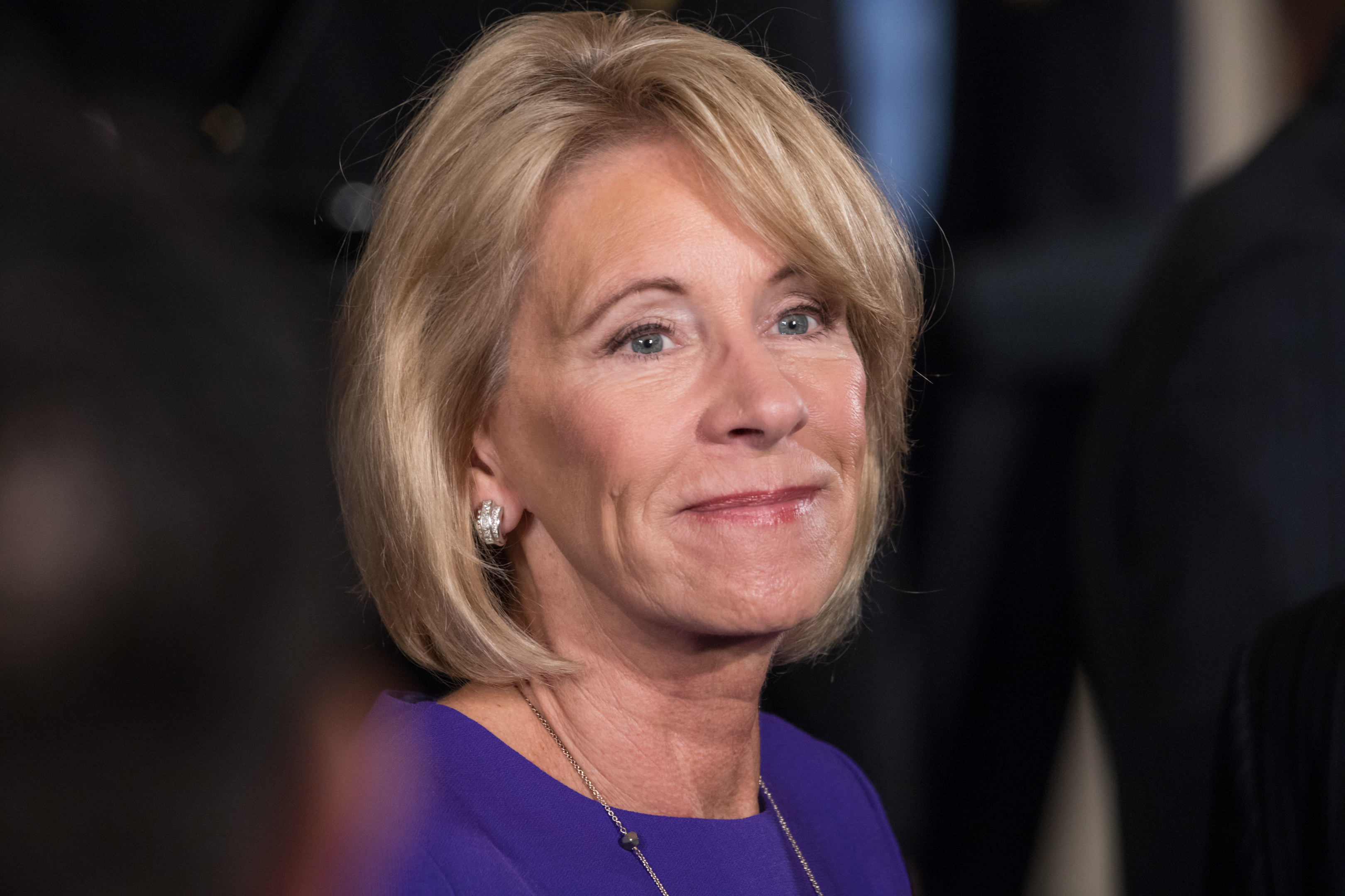 Betsy DeVos, U.S. secretary of education, was in attendance at President Donald Trump's event on combatting drug demand and the opioid crisis, in the East Room of the White House, on Oct. 26th, 2017.
