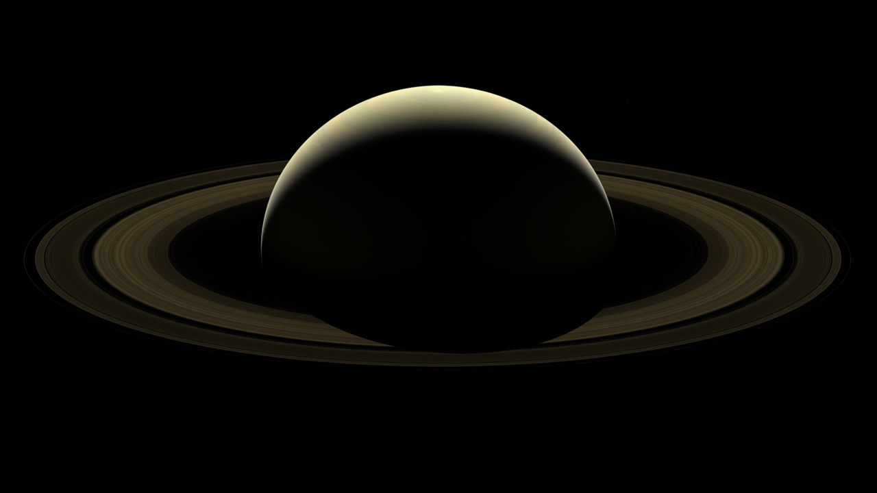 The last image of Saturn released by NASA from the Cassini probe, before it plunged into Saturn's atmosphere