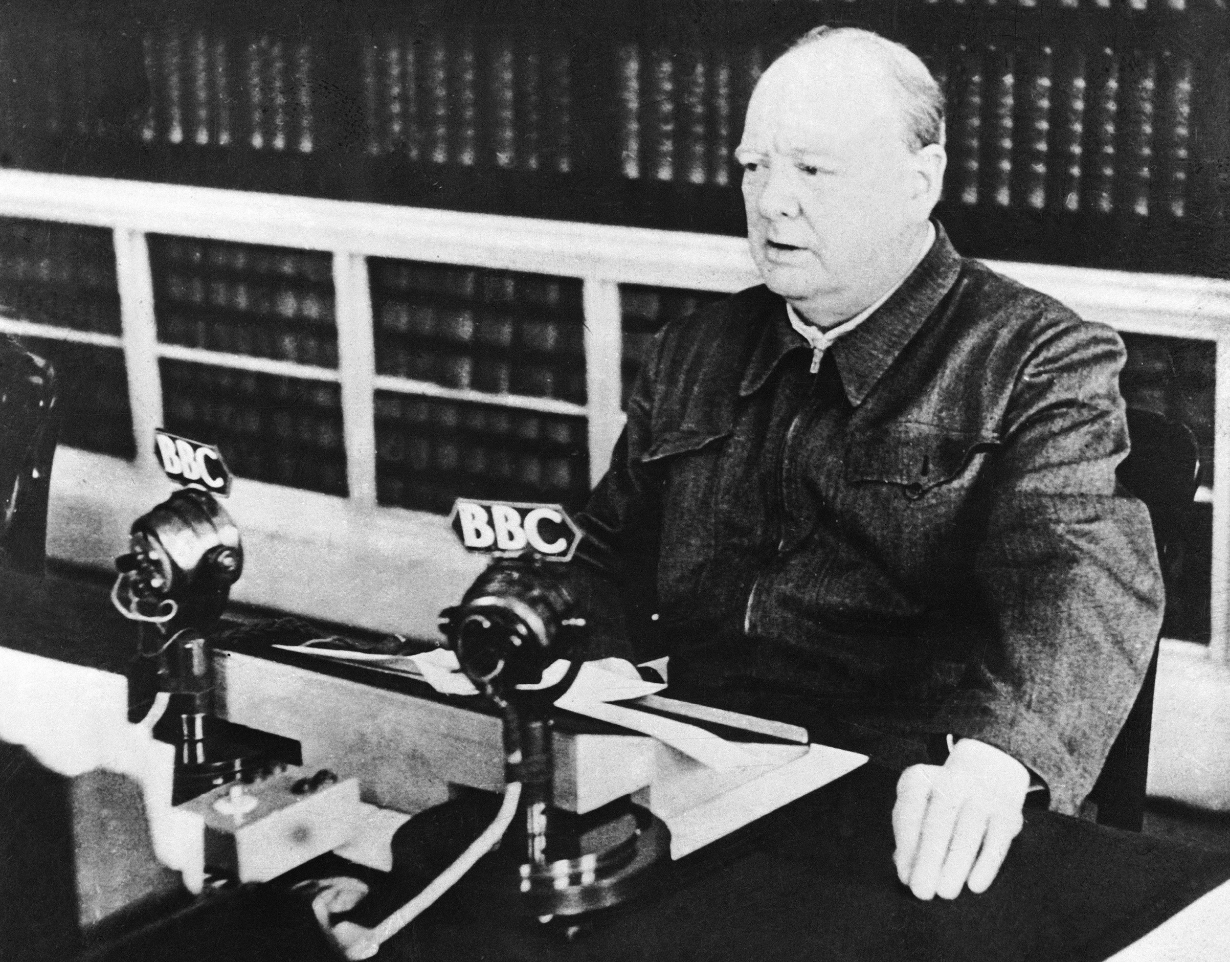 British Prime Minister Winston Churchill delivering his first radio broadcast as Prime Minister on May 13, 1940.