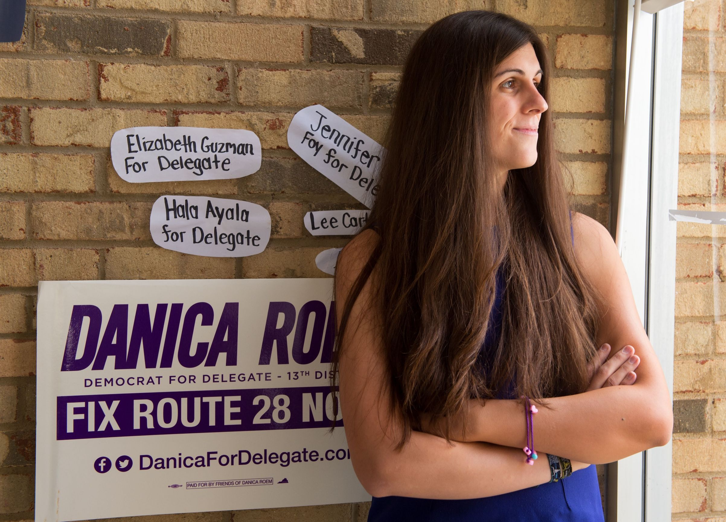 Danica Roem, a Democrat for Delegate in Virginia's district 13, and who is transgender, sits in her campaign office on Sept. 22, 2017, in Manassas, Virginia.