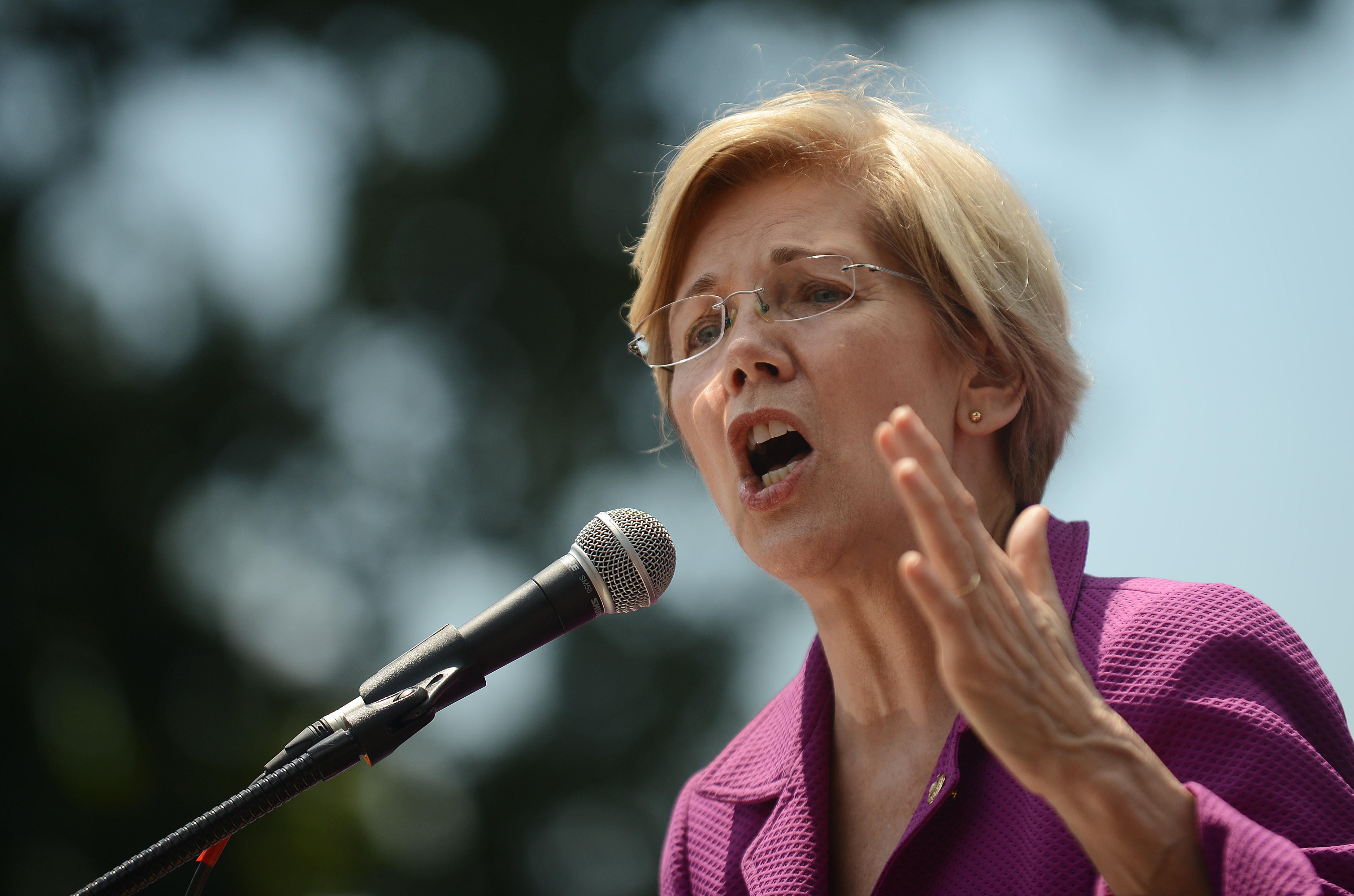 Massachusetts Sen. Elizabeth Warren speaks at a rally to oppose the repeal of the Affordable Care Act and its replacement on Capitol Hill on June 21, 2017 in Washington, D.C.