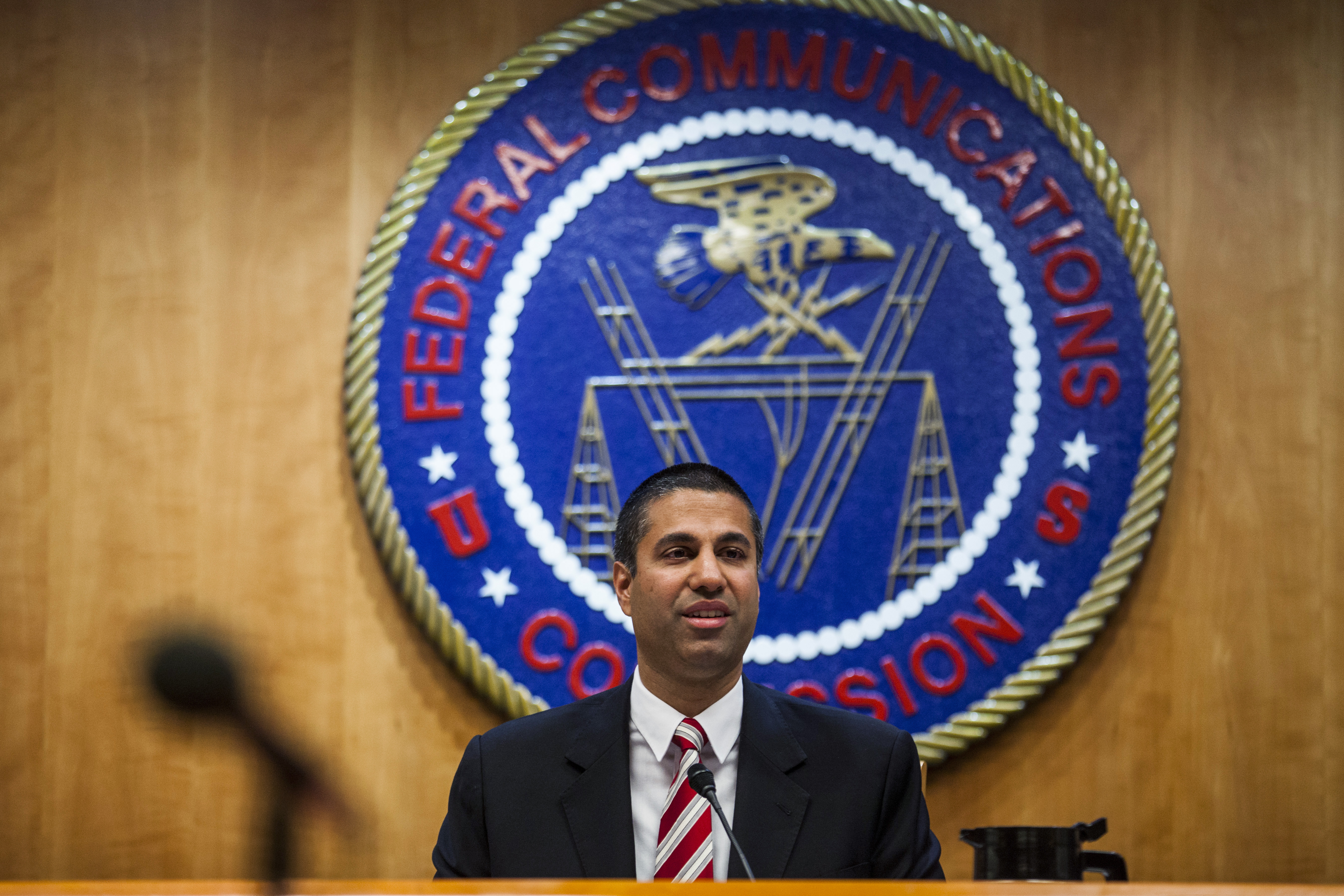 Ajit Pai, chairman of the Federal Communications Commission (FCC), speaks during an open meeting in Washington, D.C., U.S., on Thursday, Nov. 16, 2017.