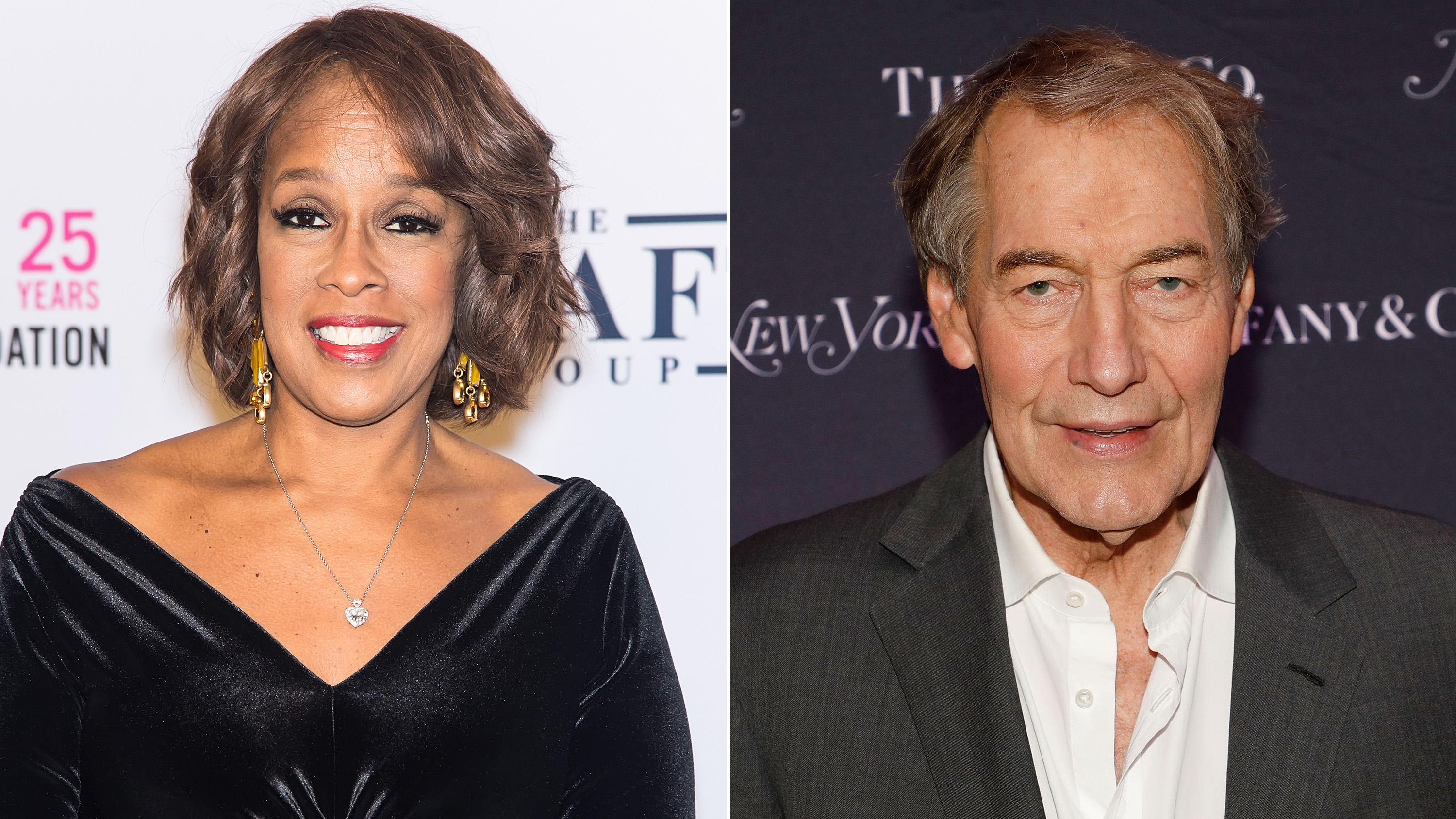 Gayle King (left) and Charlie Rose (right).