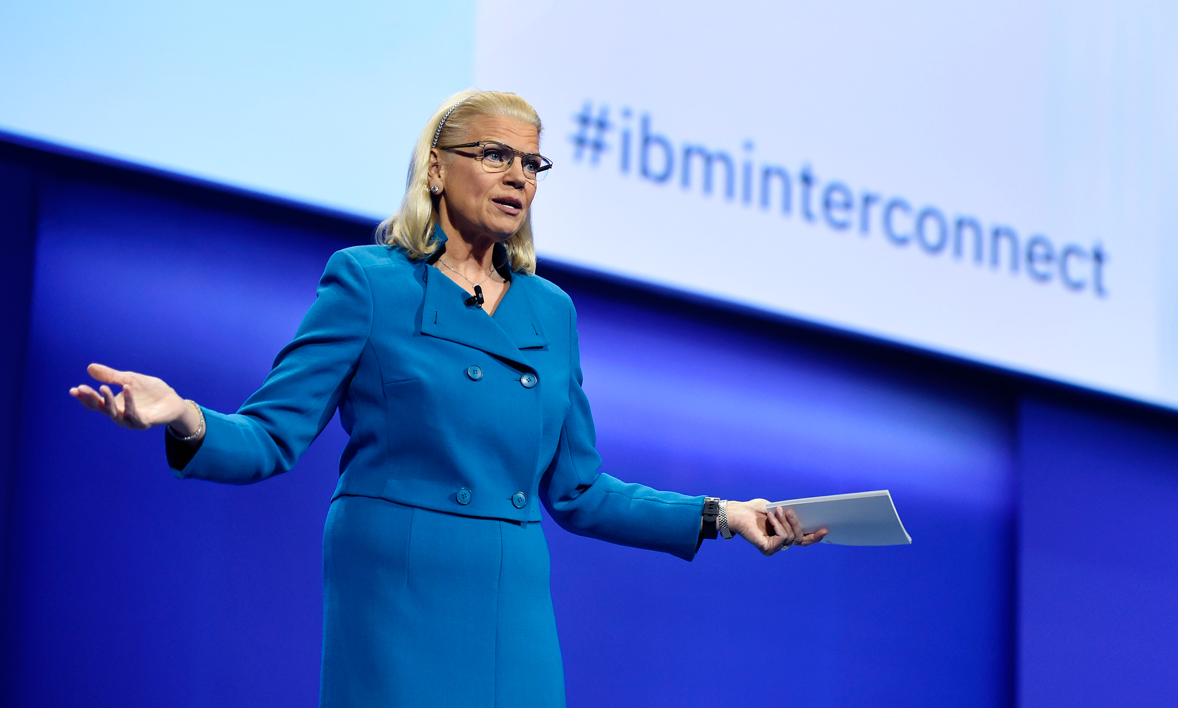 Ginni Rometty, chief executive officer of IBM, speaks during the IBM InterConnect 2017 conference in Las Vegas on March 21, 2017.