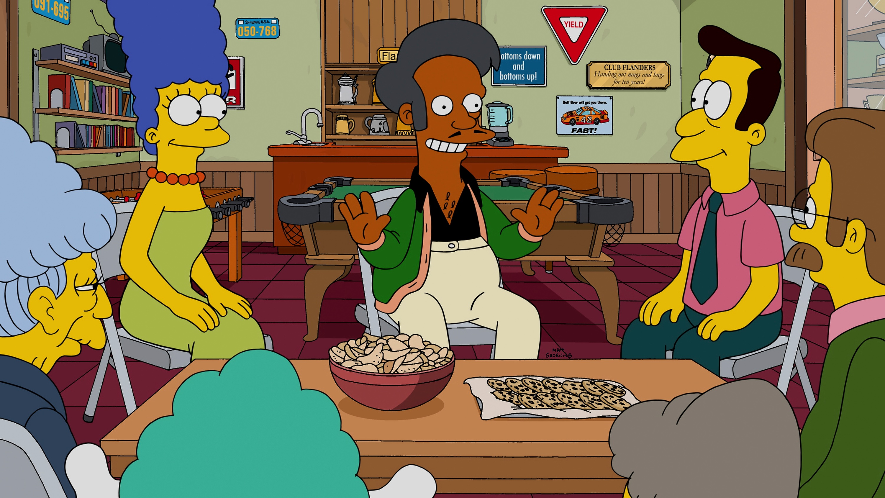 Apu tells Marge's congregation how they can collect enough money to repair their church in the 'Sky Police' episode of The Simpsons.