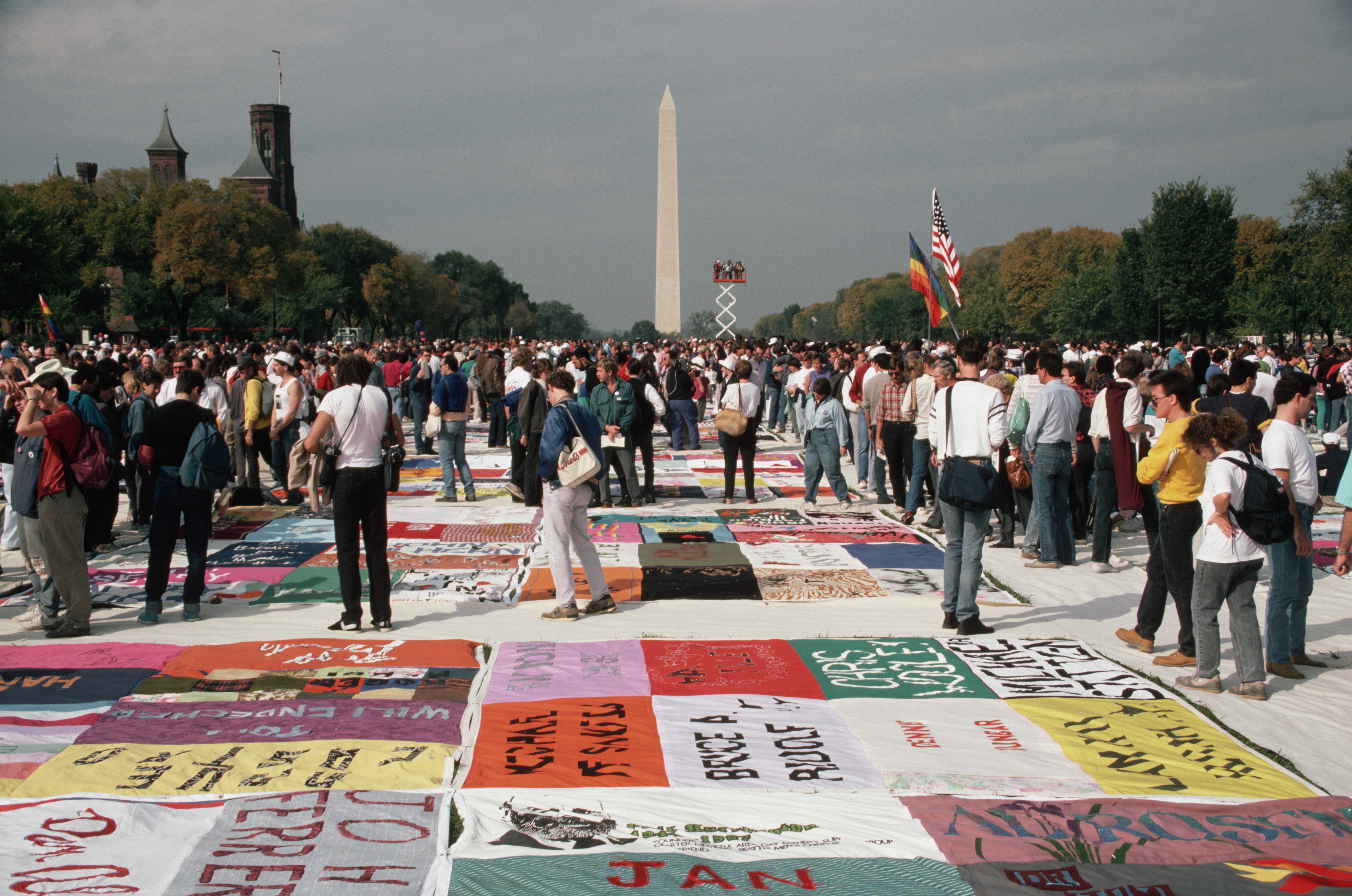 The AIDS Memorial Quilt is shown for the first time on the Mall in Washington DC, circa October 1987.