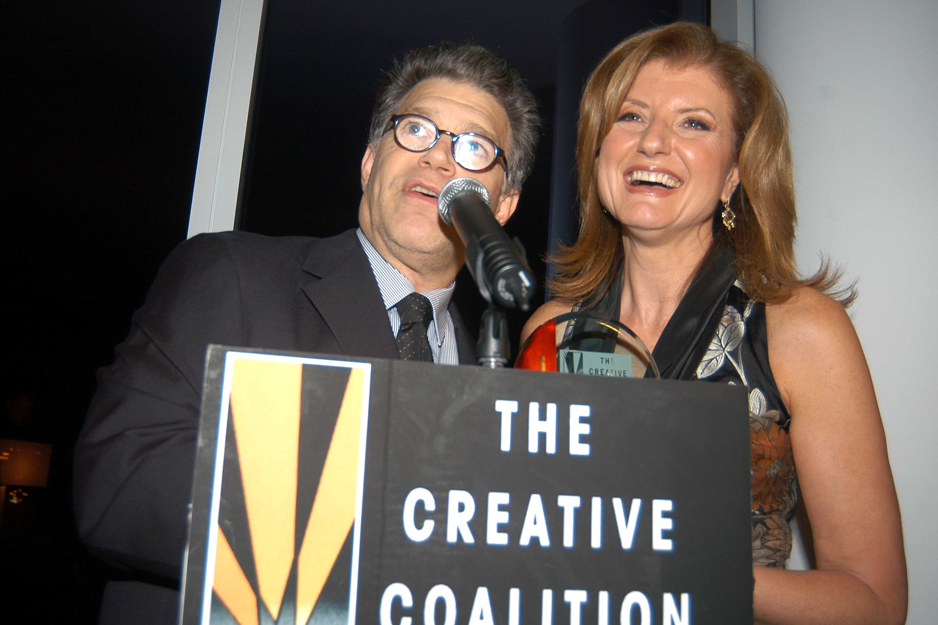 NOV. 10 2005: Al Franken and Arianna Huffington pictured together in 2005, five years after the pictures were taken