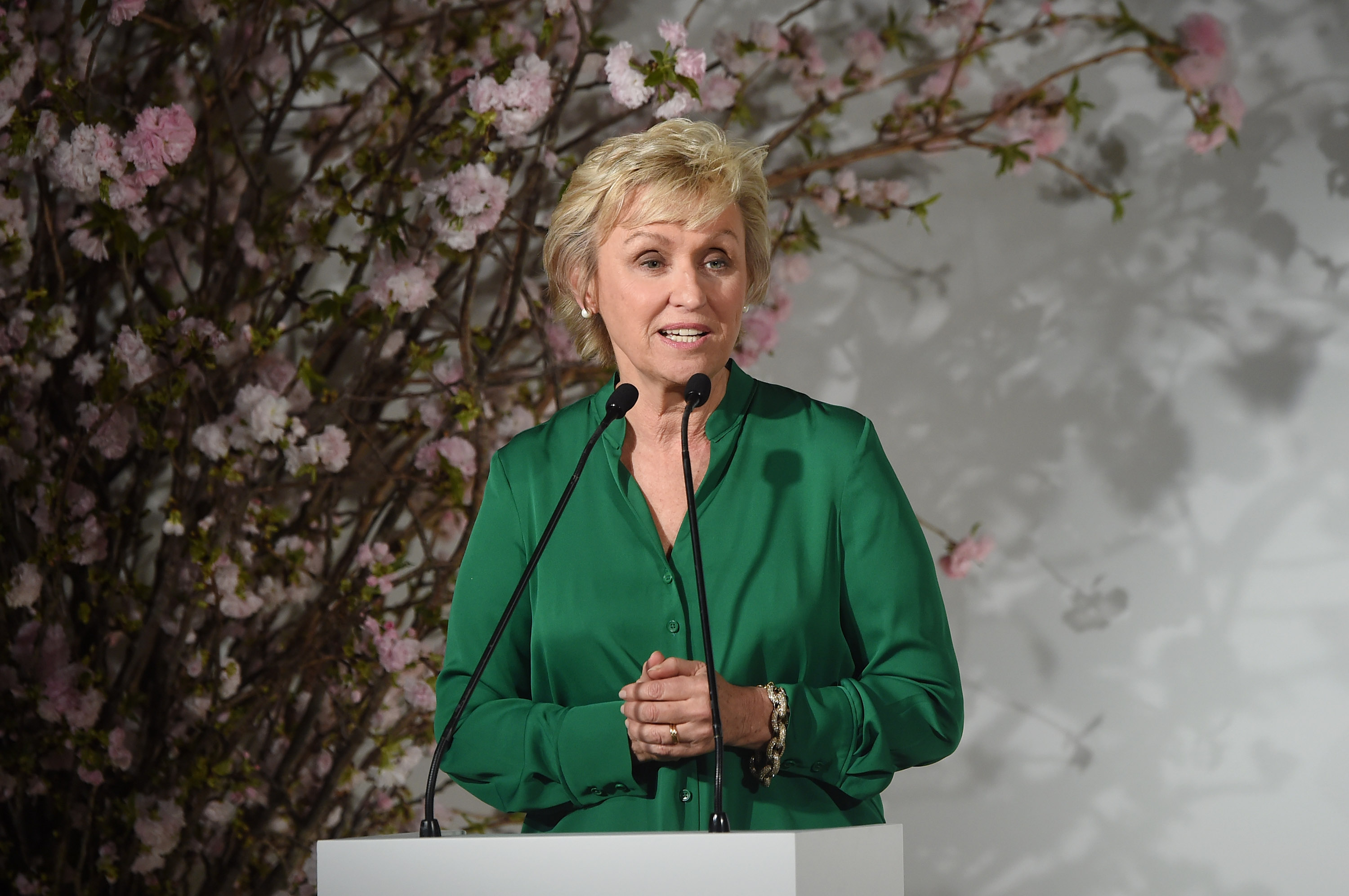 Tina Brown speaks in New York City in April 2017.  (Photo by Jamie McCarthy/Getty Images)