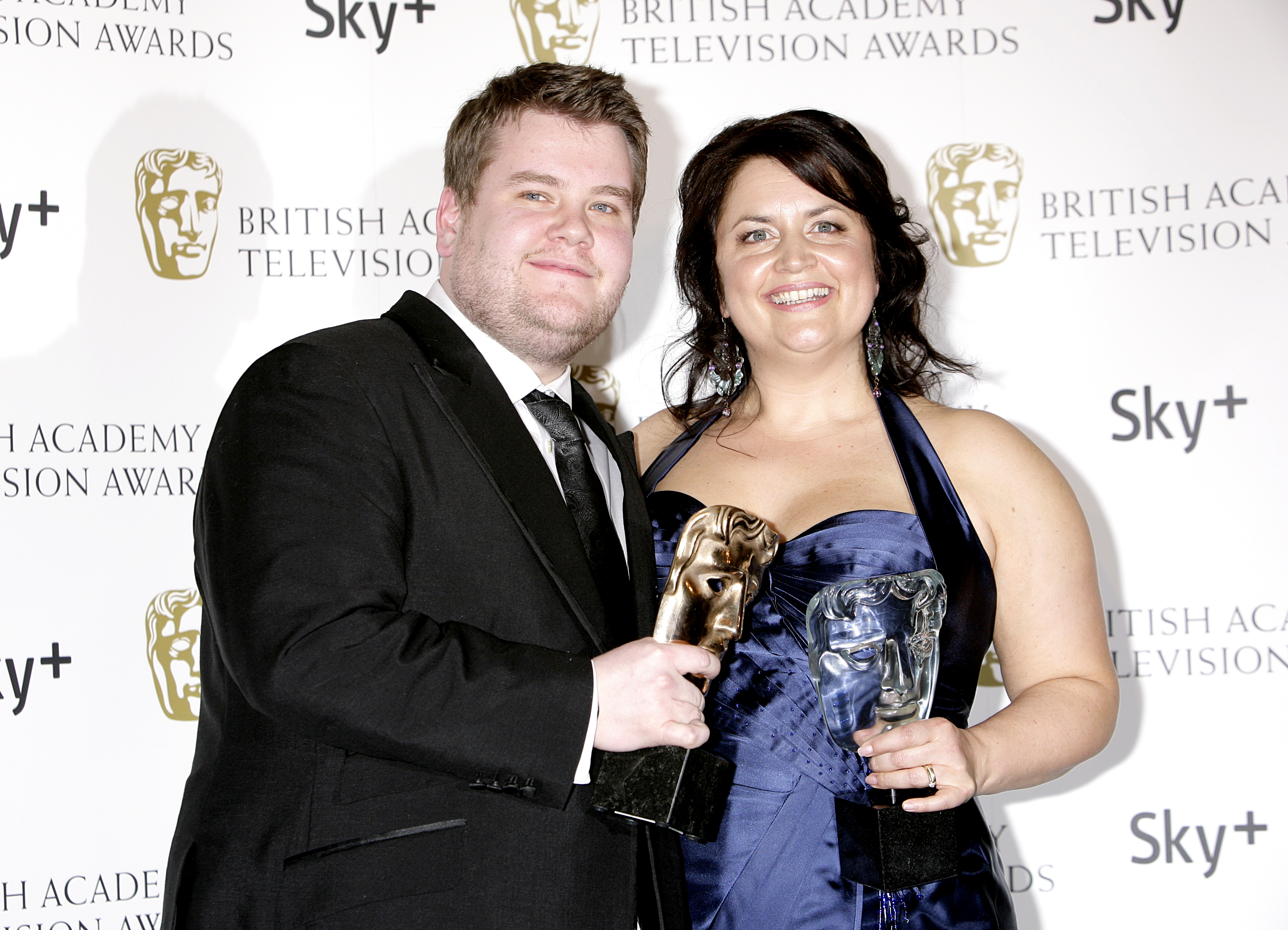 James Corden and Ruth Jones with the Programme of The Year award received for Gavin And Stacey at the British Academy Television Awards at the London Palladium in 2008.